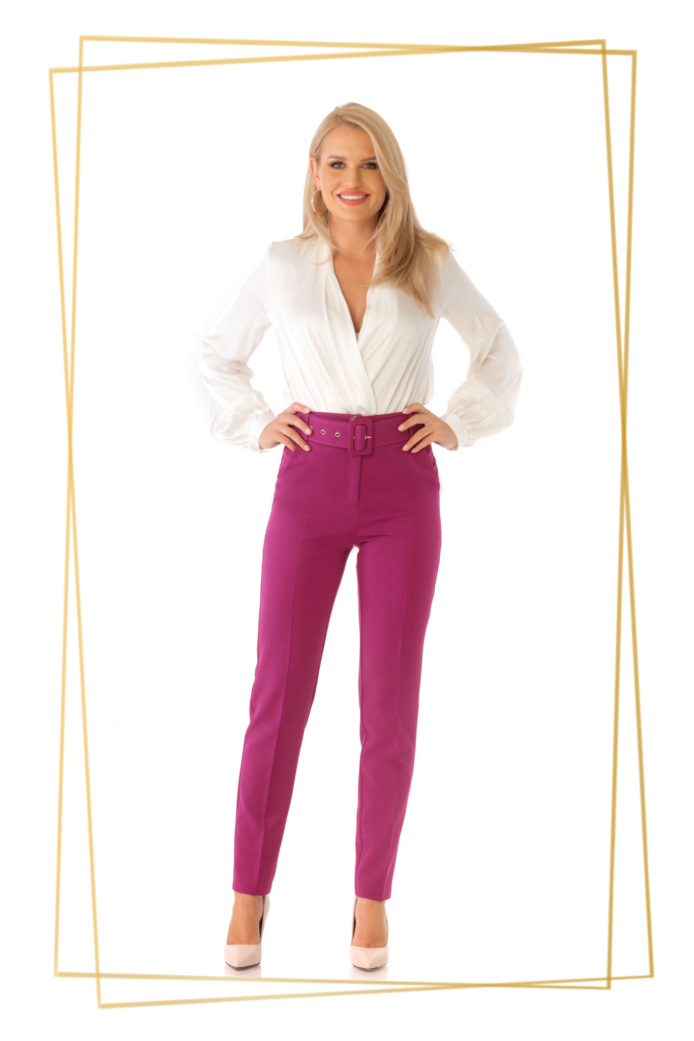 Fuchsia trousers office conical high waisted slightly elastic fabric accessorized with belt