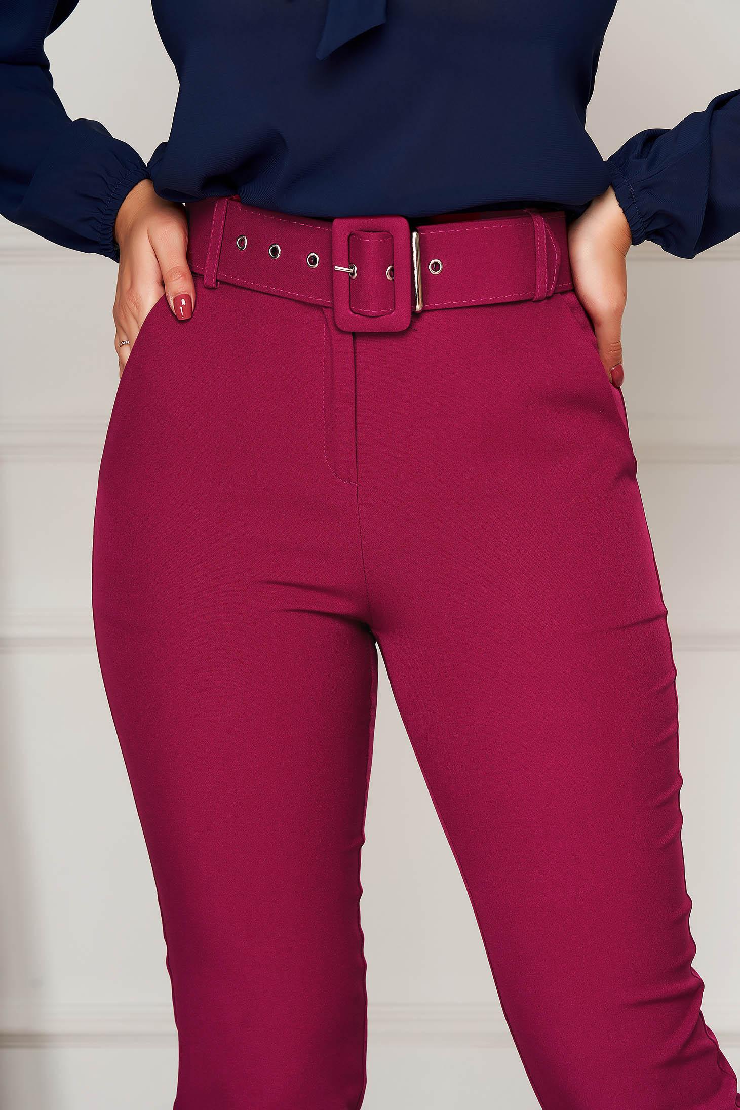 Pantaloni PrettyGirl fuchsia office conici cu talie inalta din stofa usor elastica cu accesoriu tip curea