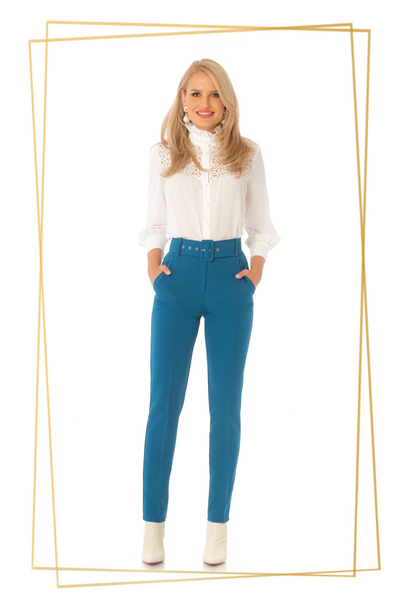 Pantaloni PrettyGirl turcoaz office conici cu talie inalta din stofa usor elastica cu accesoriu tip curea