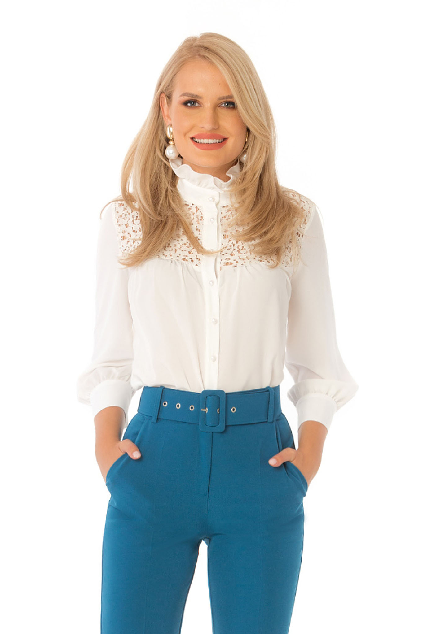 White women`s shirt elegant long sleeve ruffled collar voile fabric with lace details