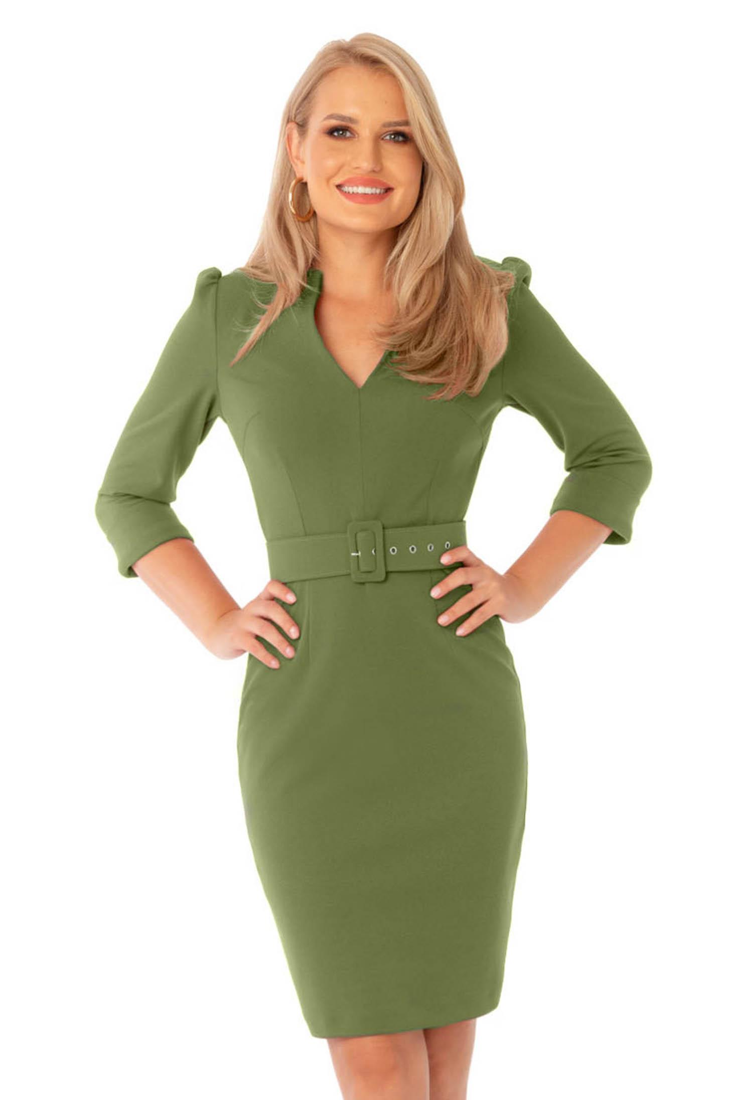 Rochie PrettyGirl verde office midi tip creion cu decolteu in v cu accesoriu tip curea