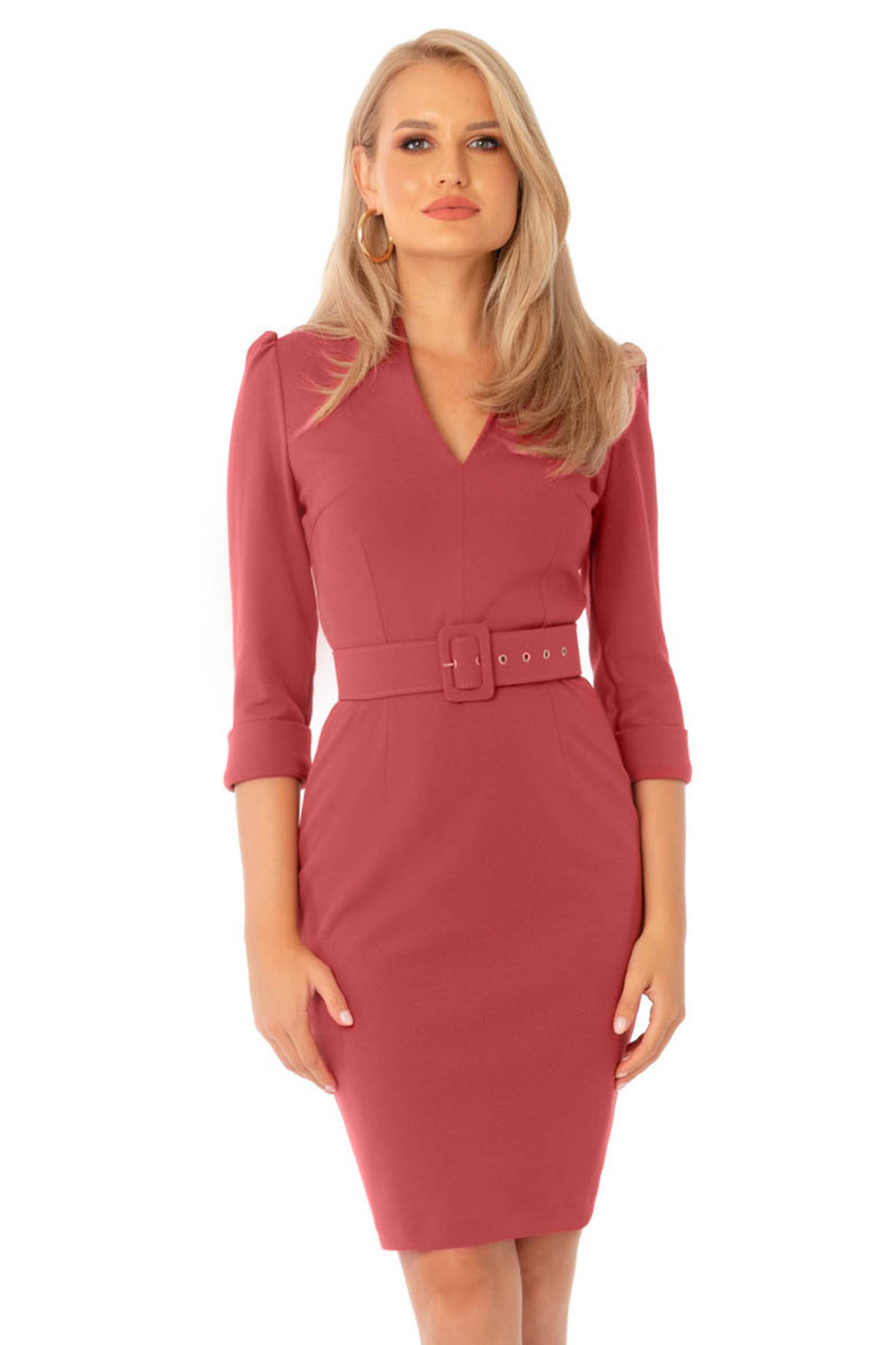Coral dress office midi pencil with v-neckline accessorized with belt
