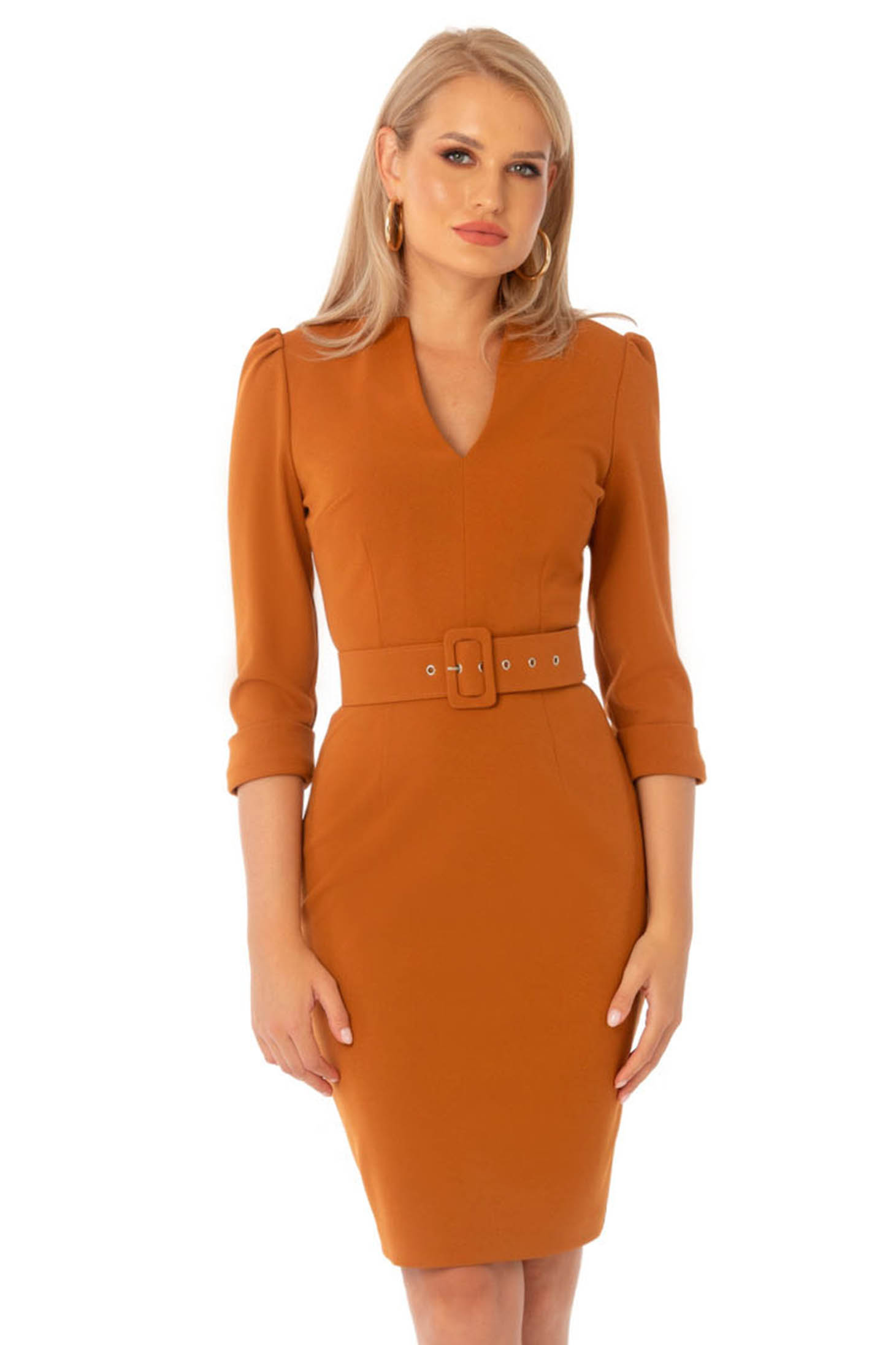 Bricky dress office midi pencil with v-neckline accessorized with belt