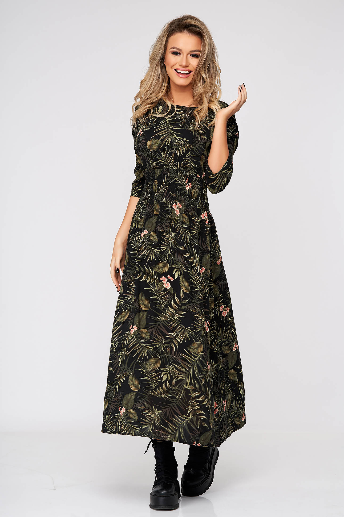 Black dress daily midi cloche airy fabric with floral prints