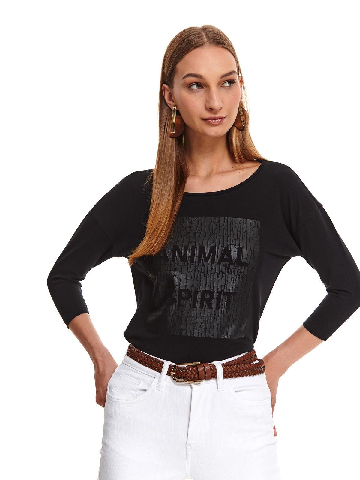 Bluza dama Top Secret neagra casual cu croi larg cu decolteu rotunjit din bumbac usor elastic