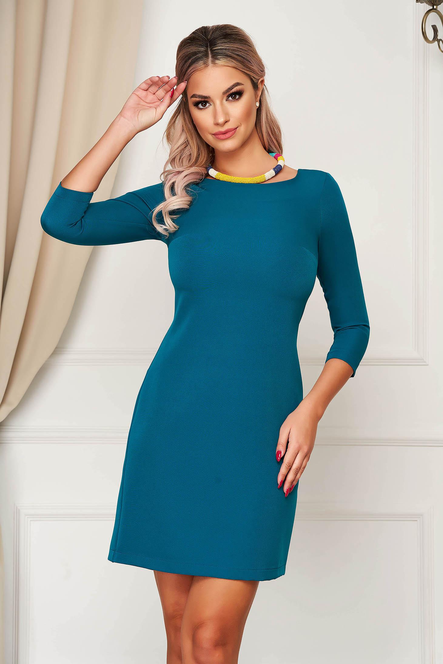 Dress StarShinerS dirty green elegant short cut straight slightly elastic fabric