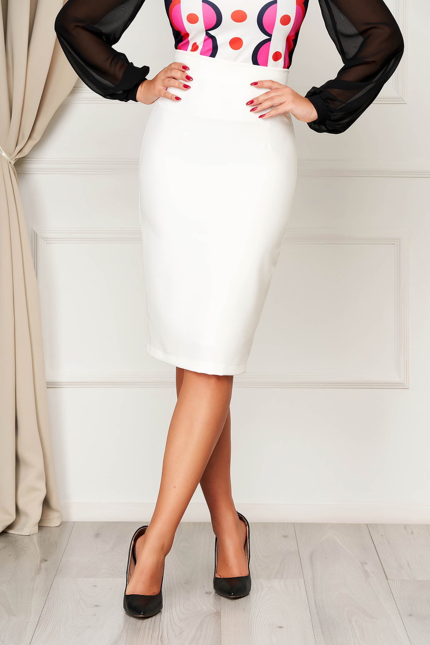 StarShinerS white high waisted skirt office pencil cloth midi from elastic fabric