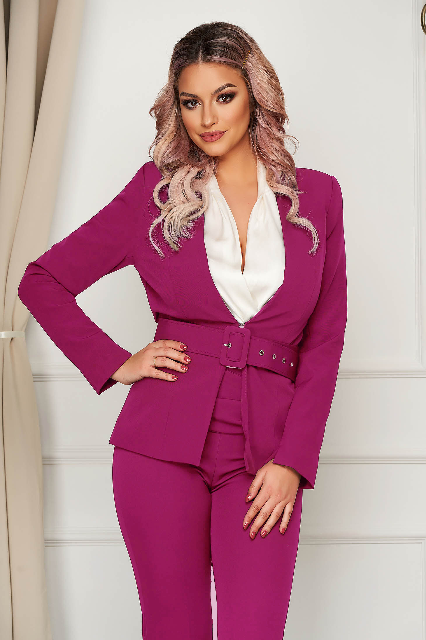 Fuchsia jacket classical blazer tented slightly elastic fabric accessorized with belt