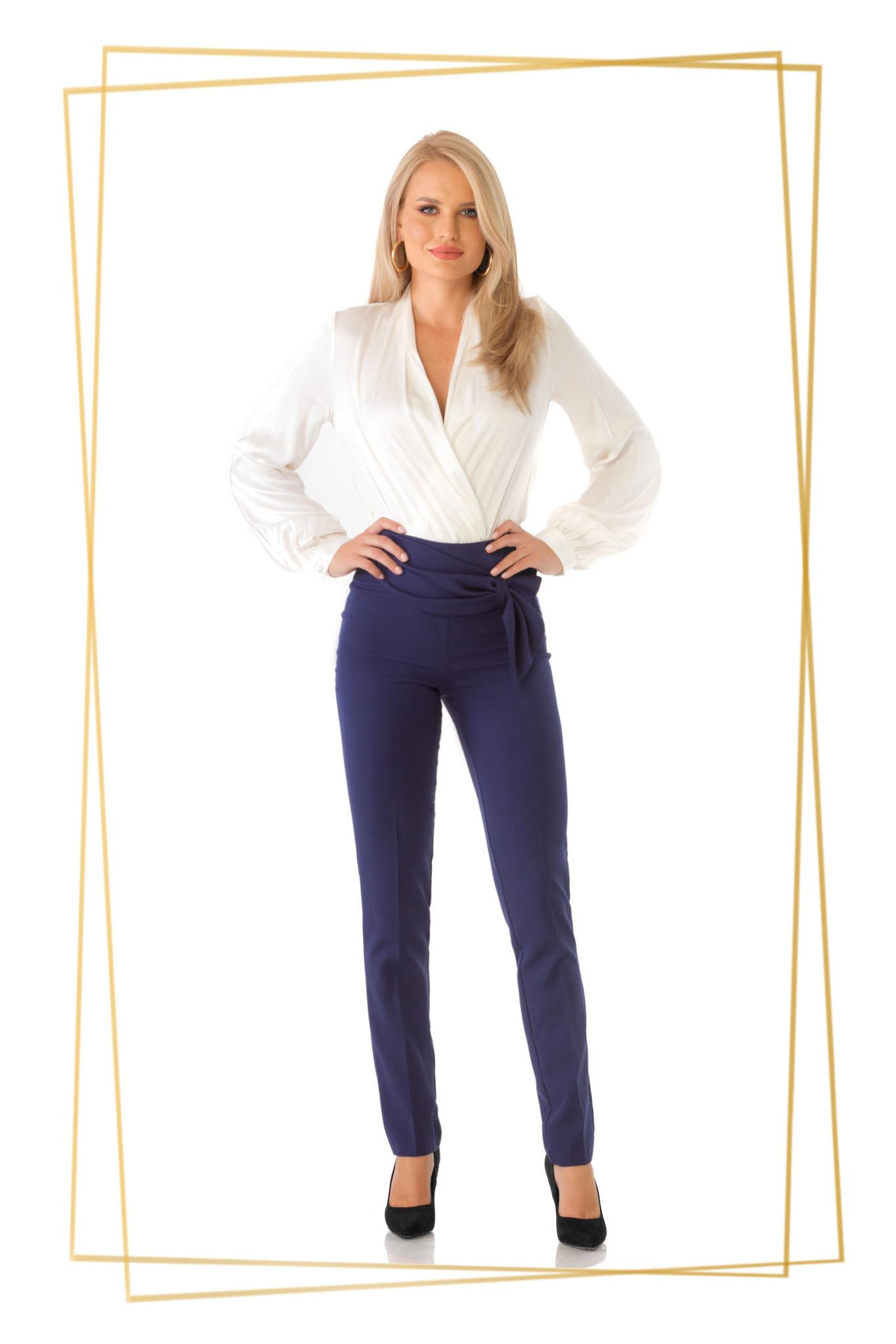 Pantaloni PrettyGirl albastru-inchis eleganti conici cu un croi mulat cu talie inalta din stofa usor elastica