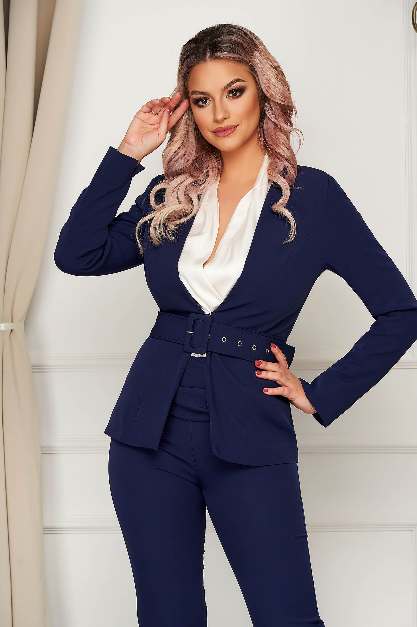 Darkblue jacket classical blazer tented slightly elastic fabric accessorized with belt