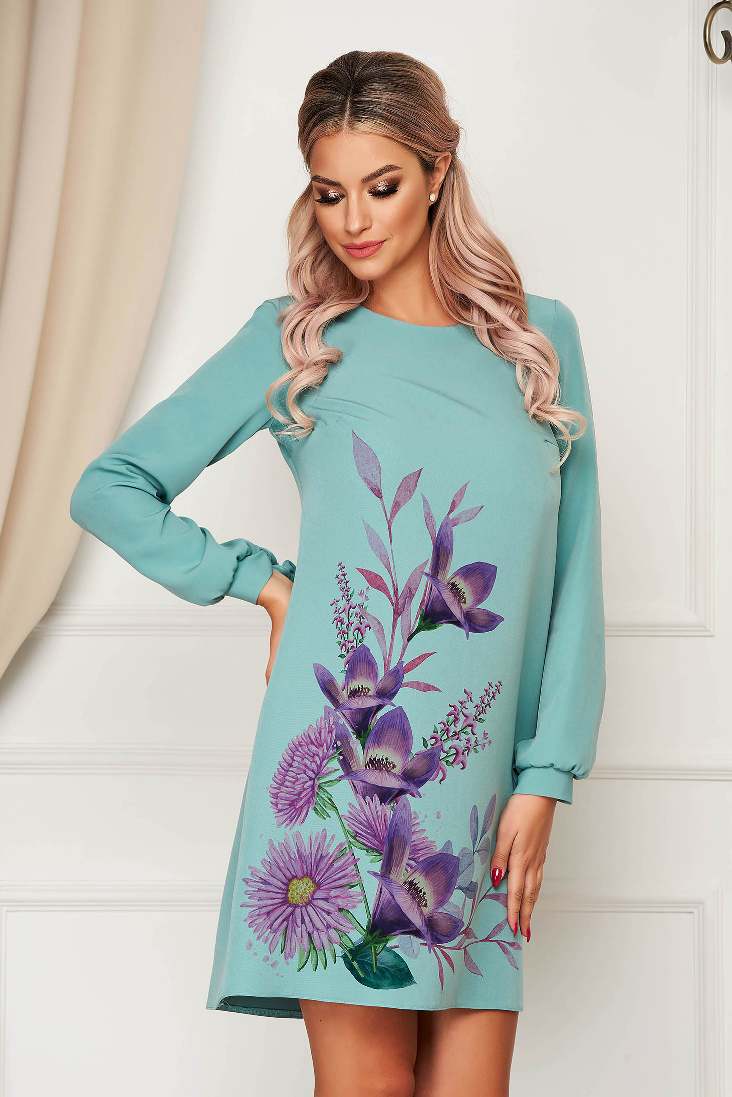 Rochie StarShinerS turcoaz scurta eleganta cu croi in a din stofa elastica cu imprimeu floral customizat