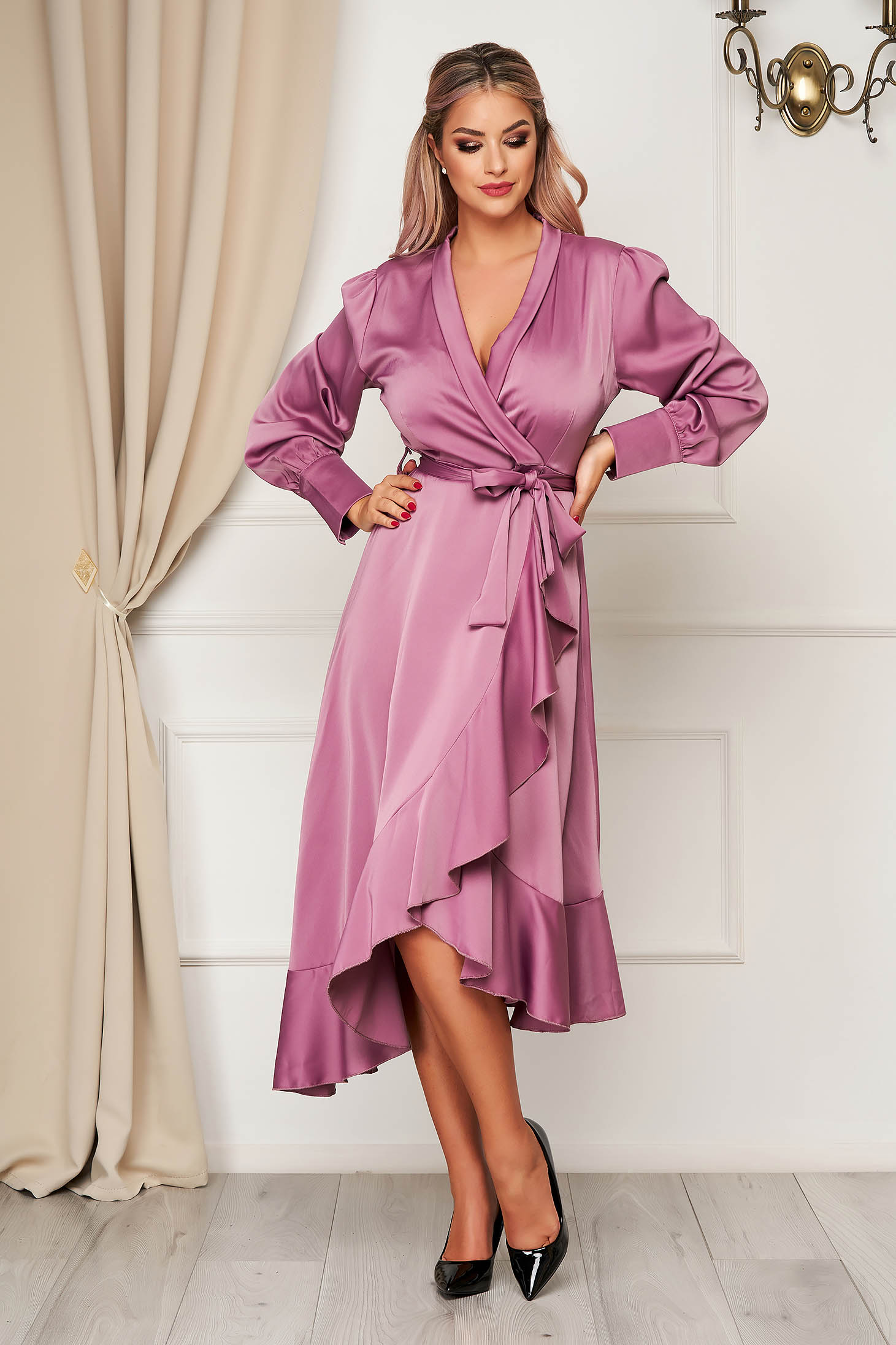 Lila dress elegant cloche wrap over front from satin fabric texture with ruffles at the buttom of the dress accessorized with tied waistband
