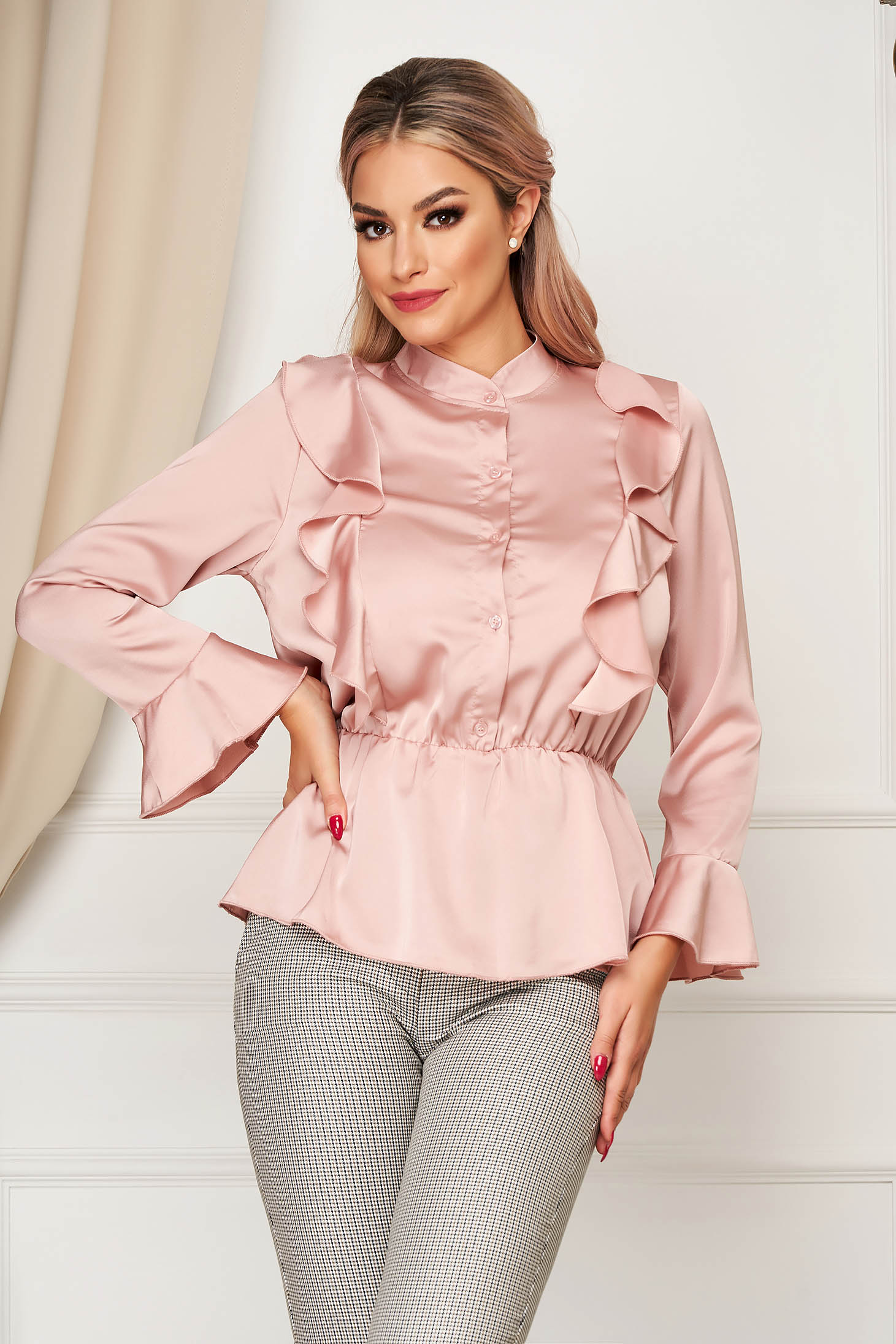 Lightpink women`s shirt elegant flared from satin fabric texture with elastic waist with ruffle details