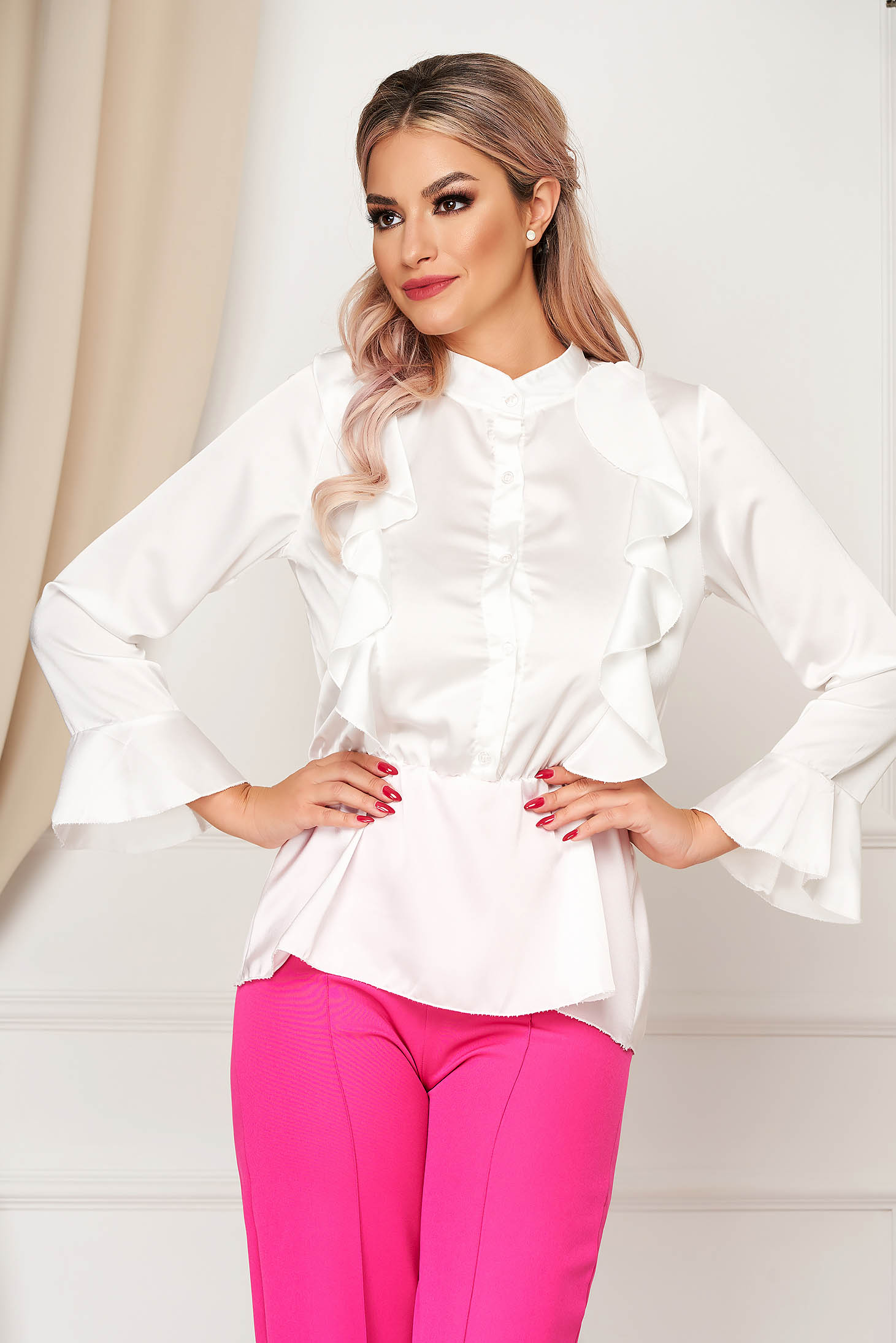 White women`s shirt elegant flared from satin fabric texture with elastic waist with ruffle details