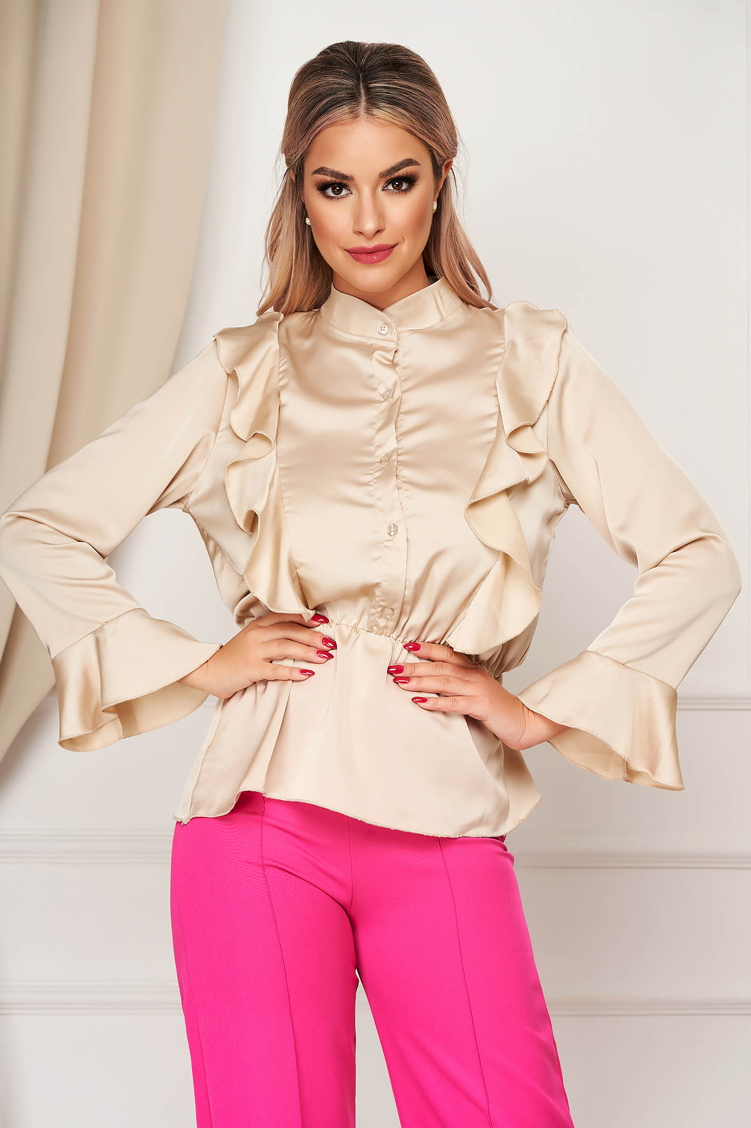 Cream women`s shirt elegant flared from satin fabric texture with elastic waist with ruffle details