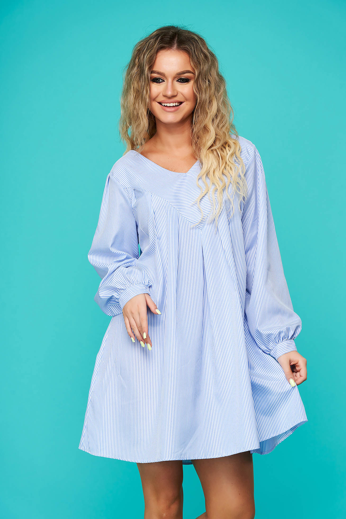 Blue dress daily short cut flared with v-neckline nonelastic cotton