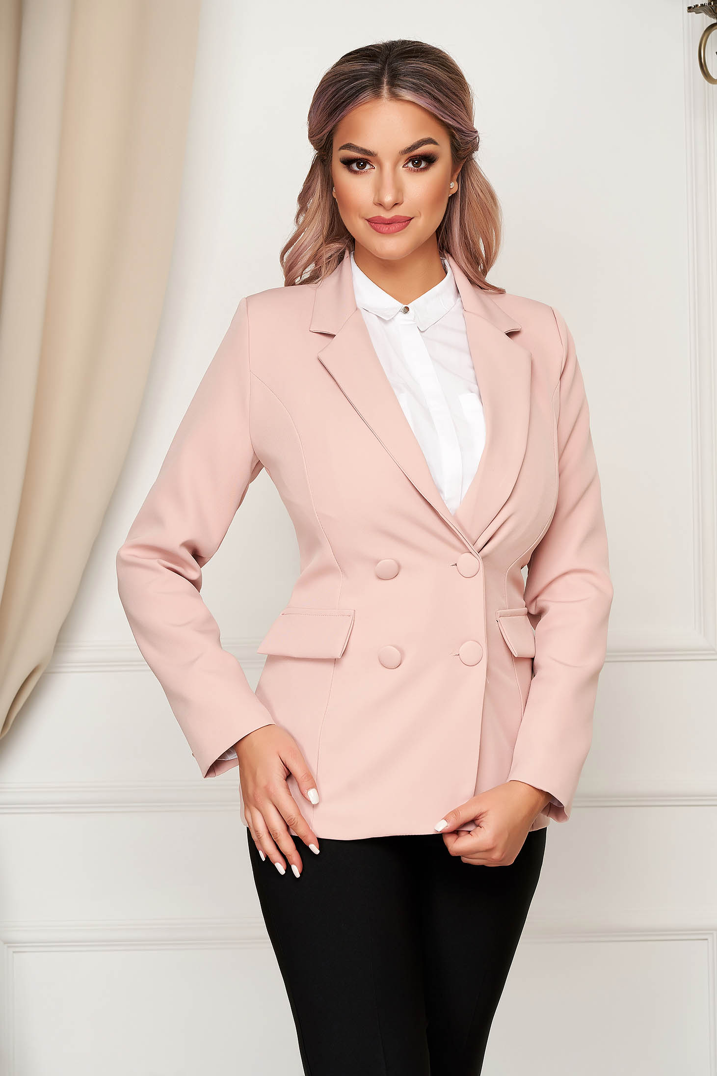 Pink jacket classical arched cut cloth with inside lining