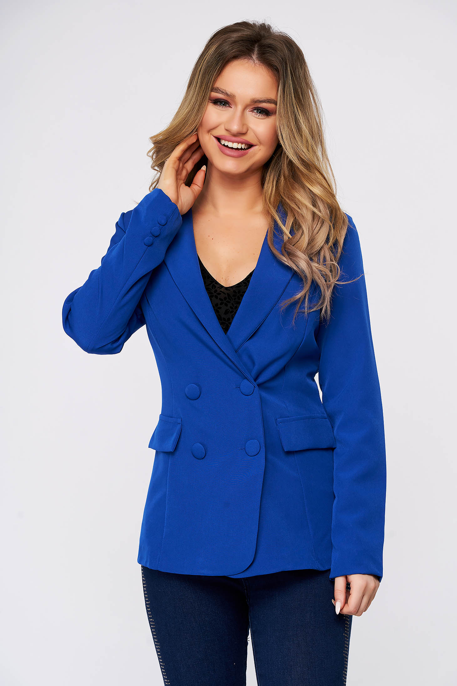 Blue jacket classical arched cut cloth with inside lining