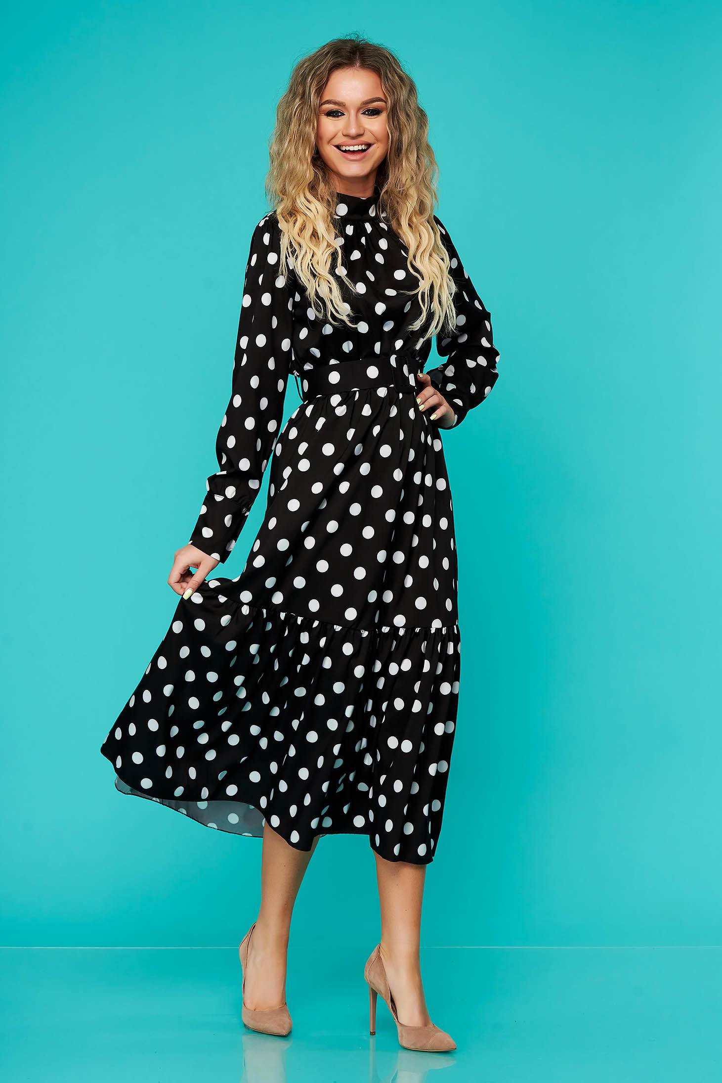 Rochie SunShine neagra de zi midi cu elastic in talie cu accesoriu tip curea cu volanase la baza rochiei