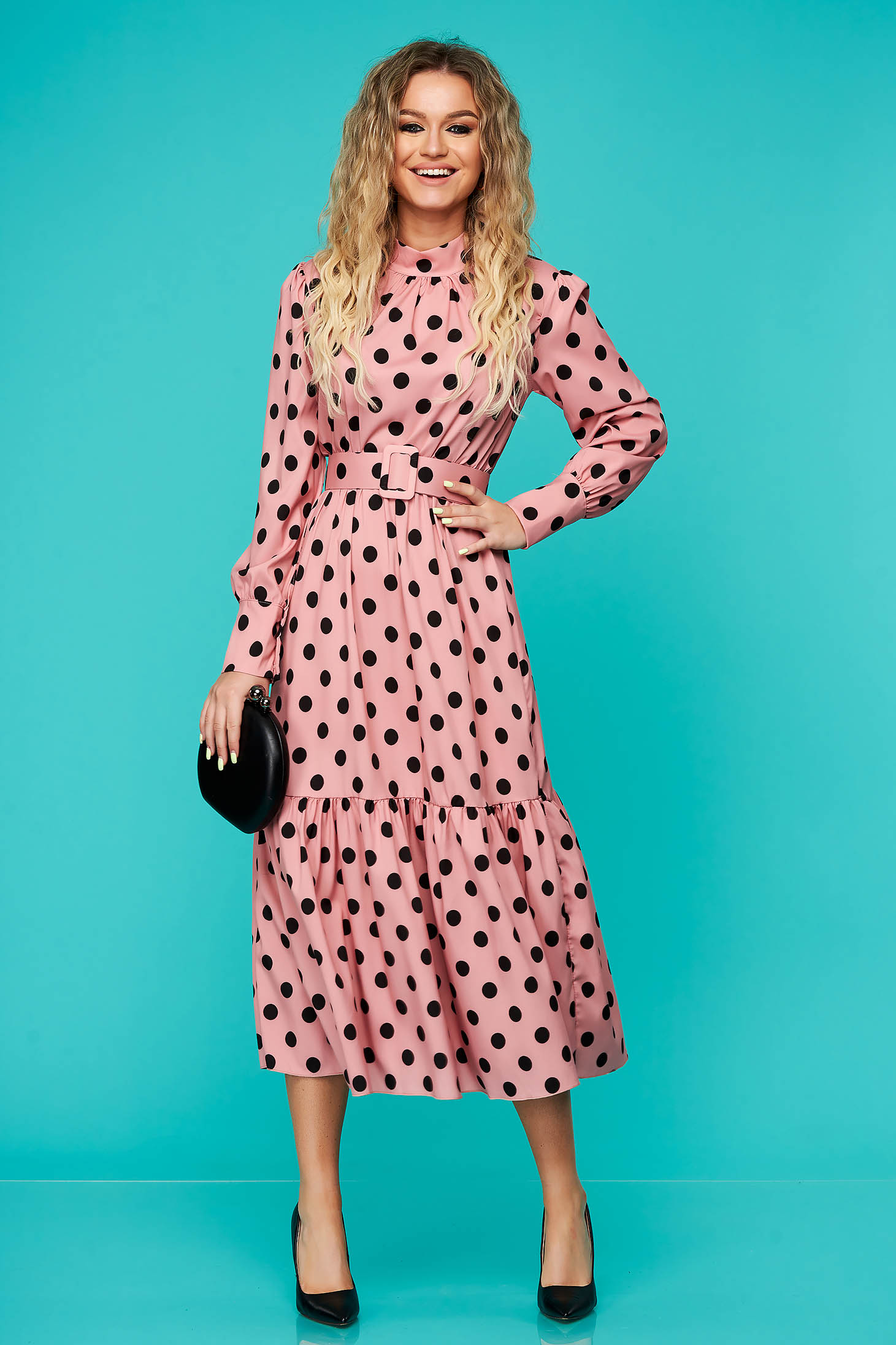Rochie SunShine roz de zi midi cu elastic in talie cu accesoriu tip curea cu volanase la baza rochiei