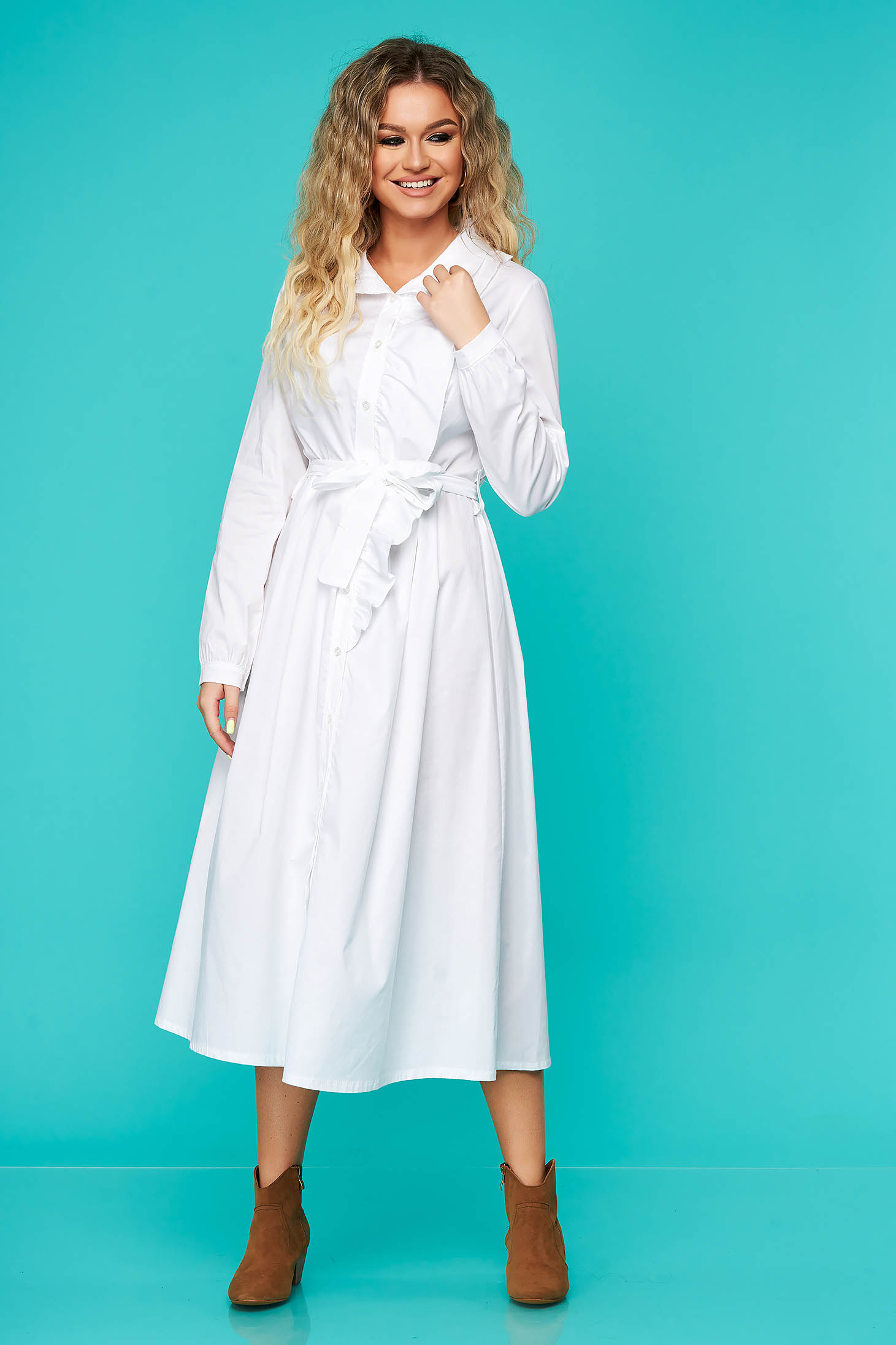 White dress daily cloche with ruffle details accessorized with tied waistband nonelastic cotton
