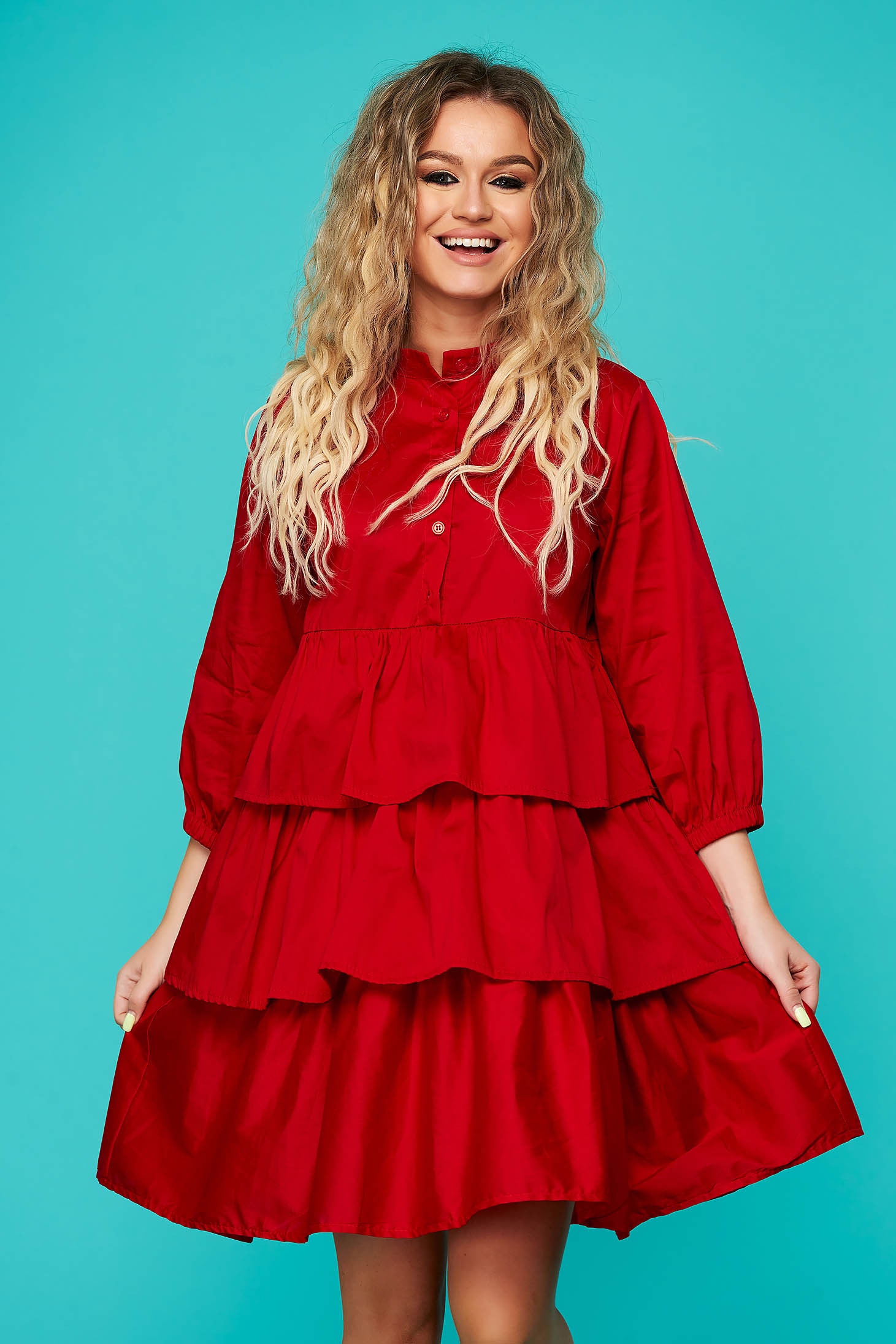 Red dress daily short cut flared nonelastic cotton with ruffle details
