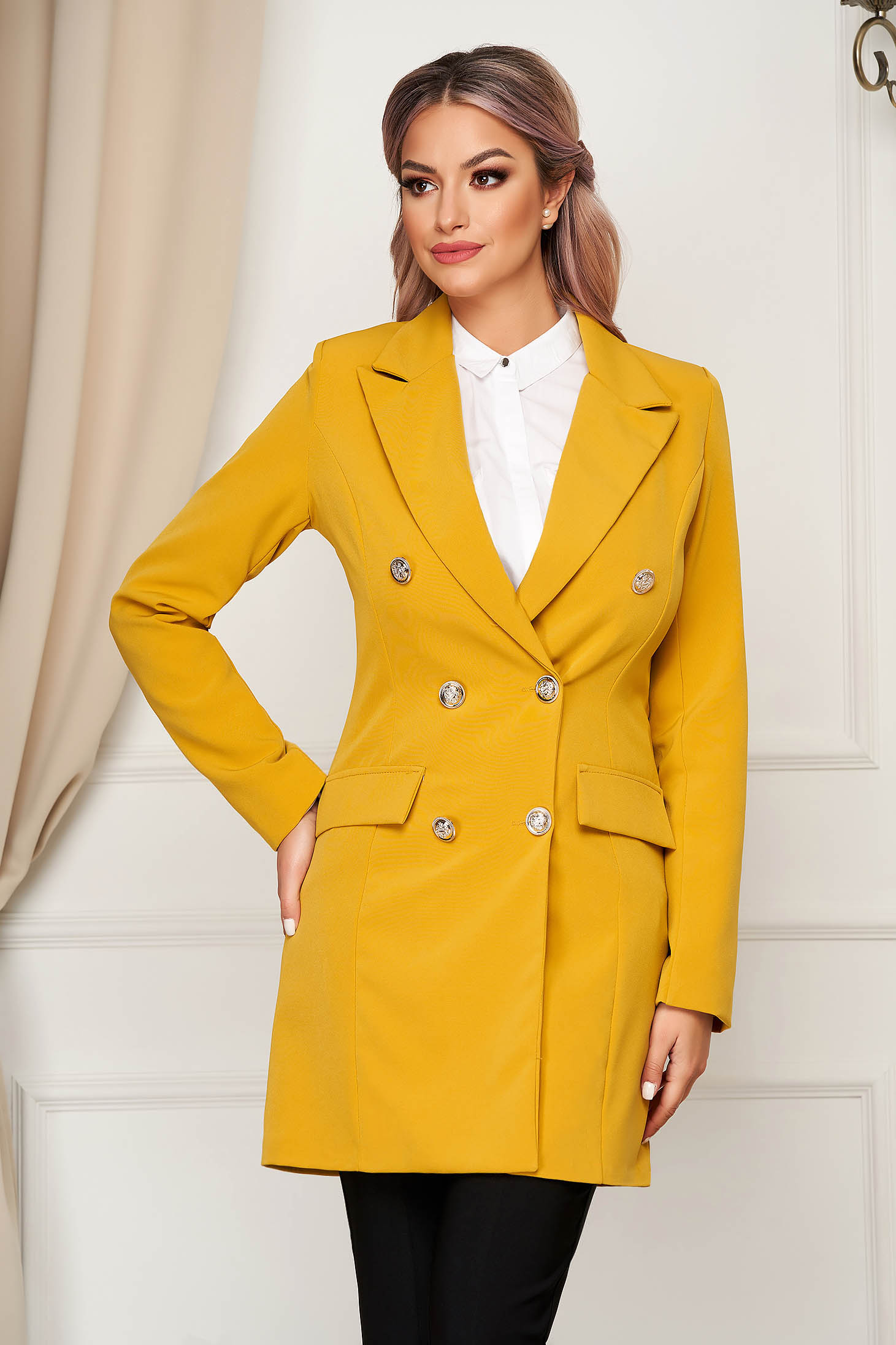 Mustard jacket long flared from non elastic fabric with inside lining