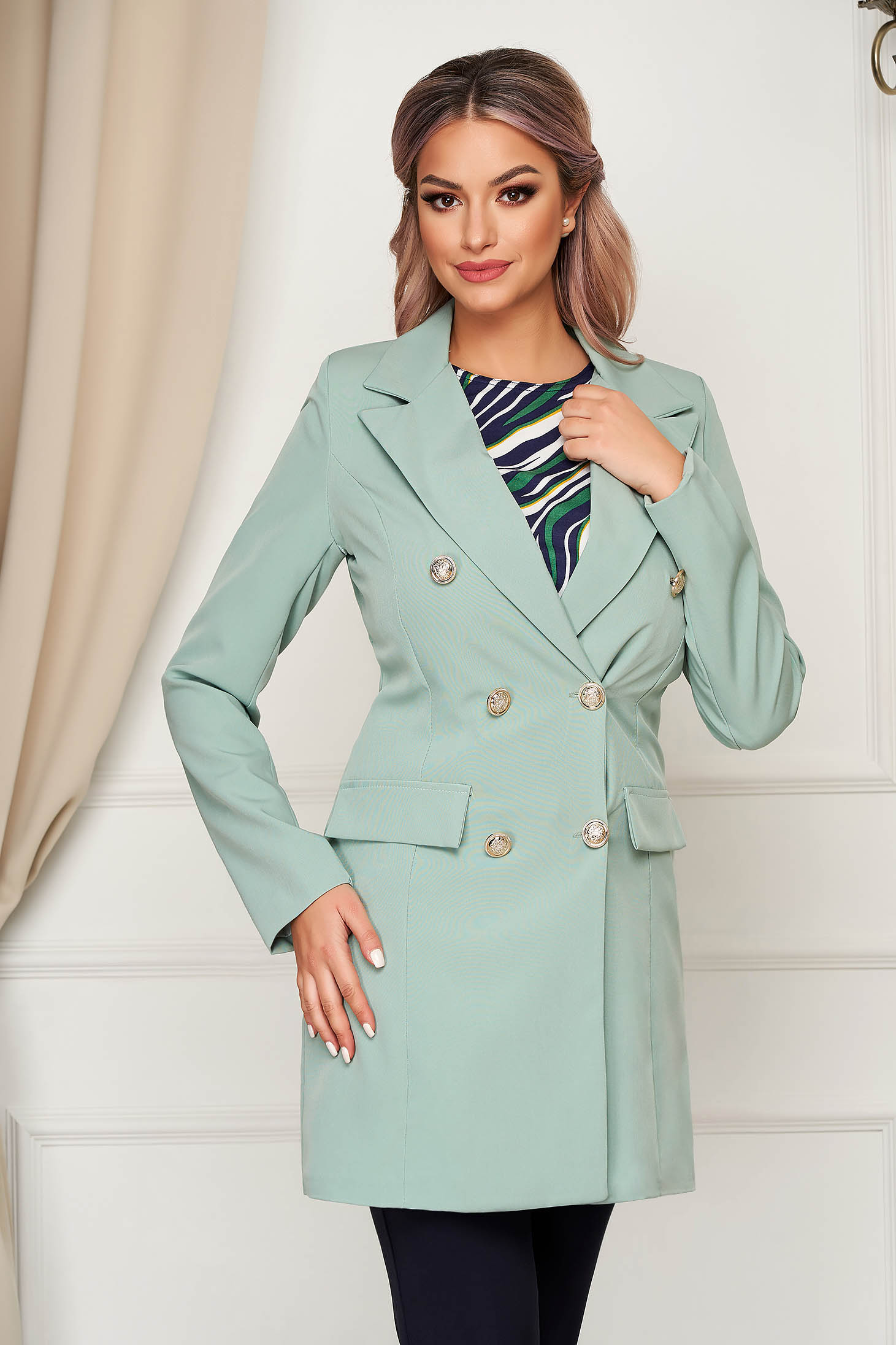 Mint jacket long flared from non elastic fabric with inside lining