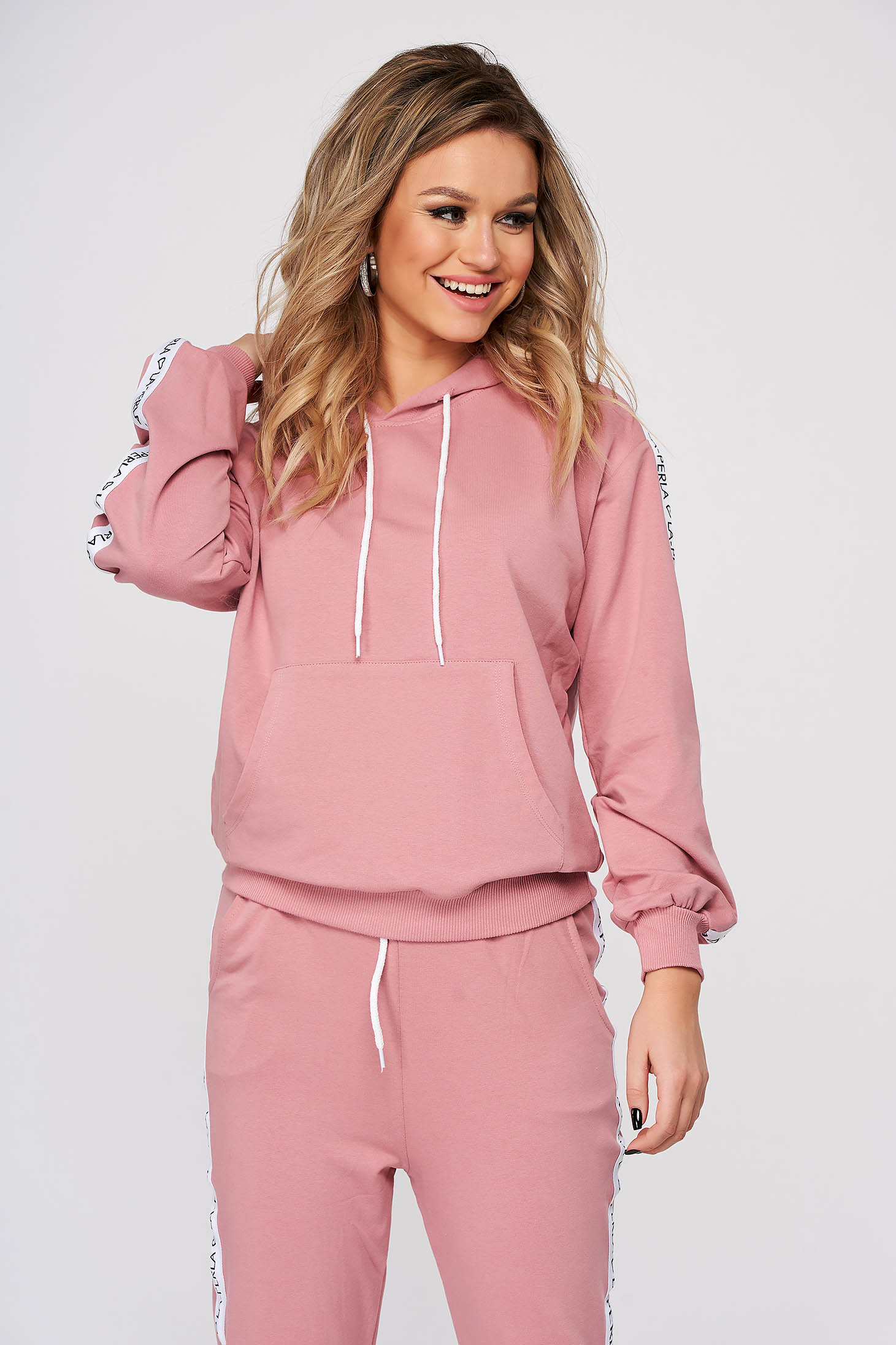 Lightpink sport 2 pieces casual from two pieces with trousers slightly elastic cotton