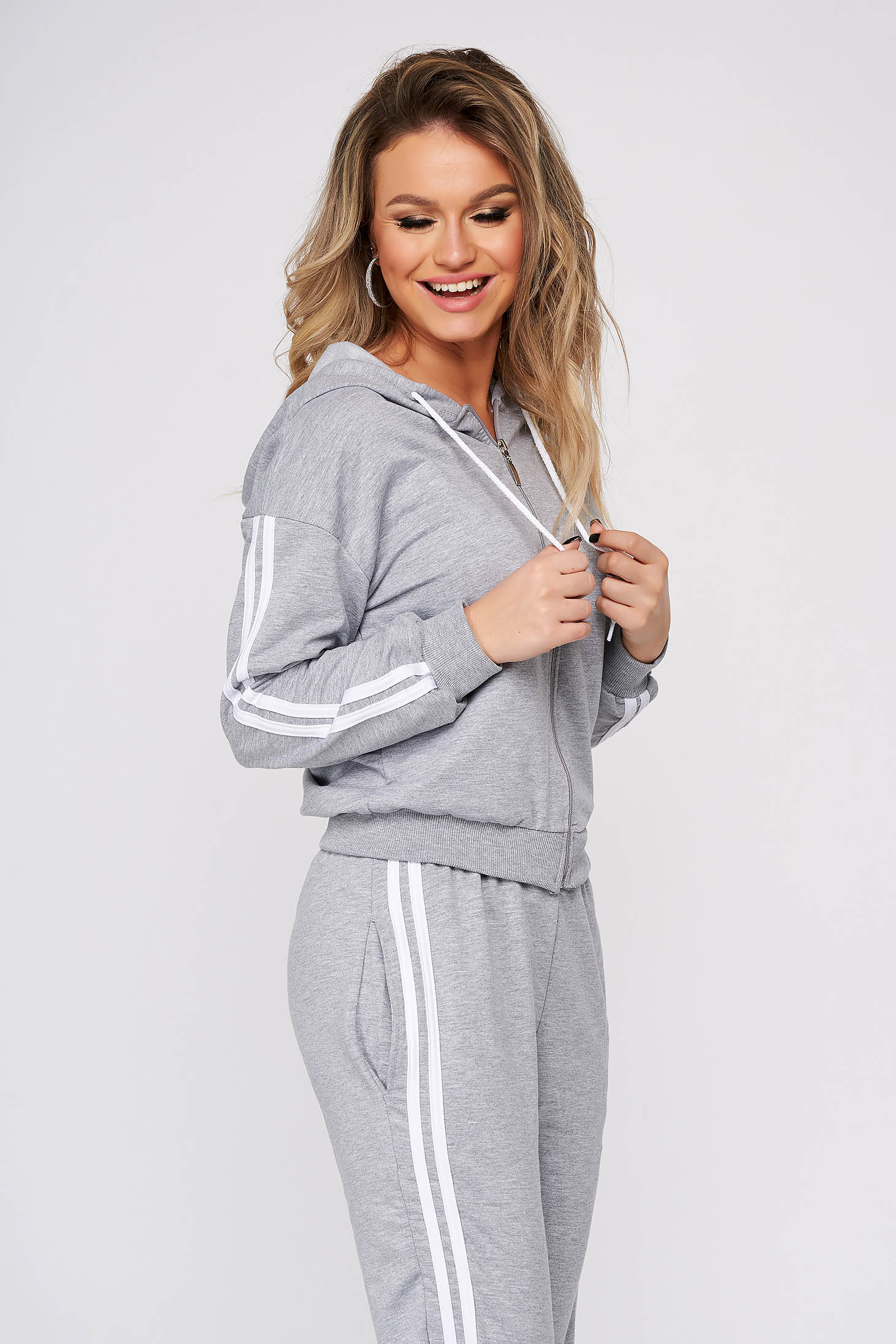 Grey sport 2 pieces casual from two pieces with trousers slightly elastic cotton