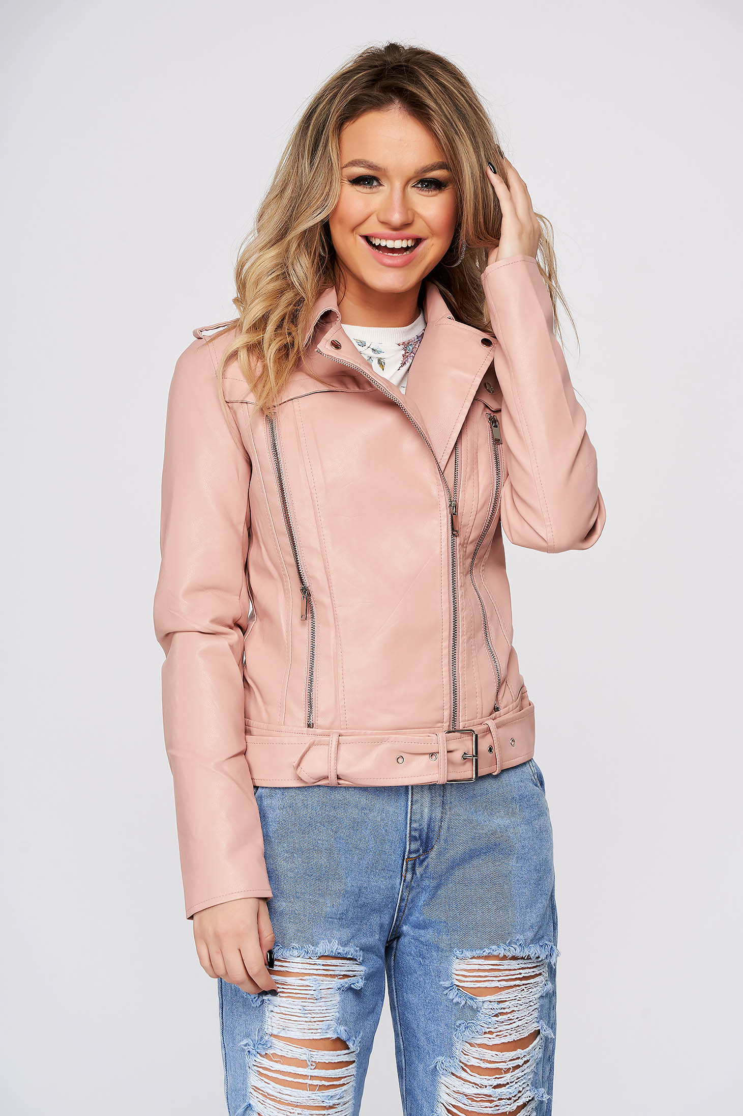 Pink jacket from ecological leather tented zipper accessory