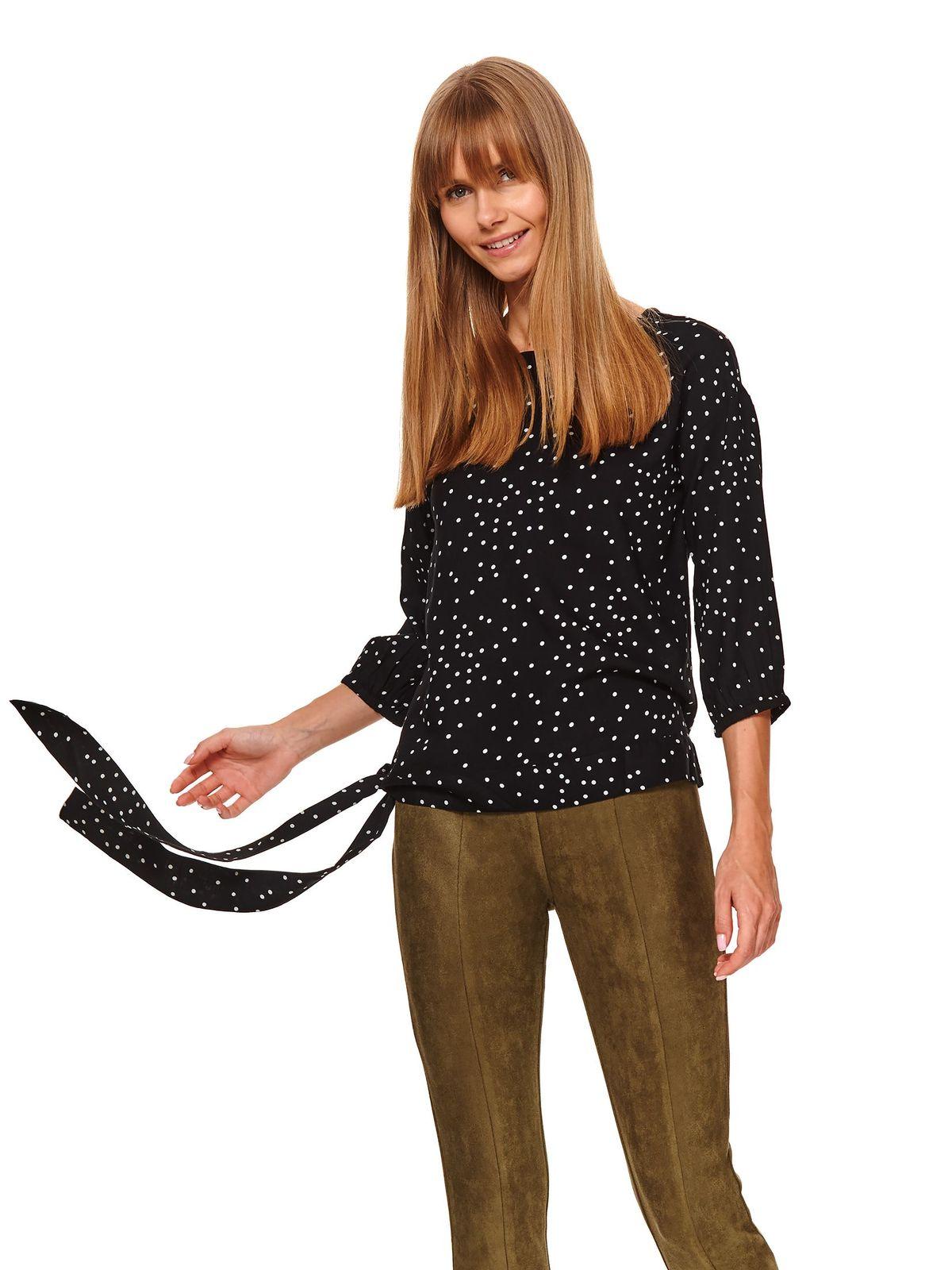 Bluza dama Top Secret neagra casual cu croi larg cu maneca 3/4 din material vaporos