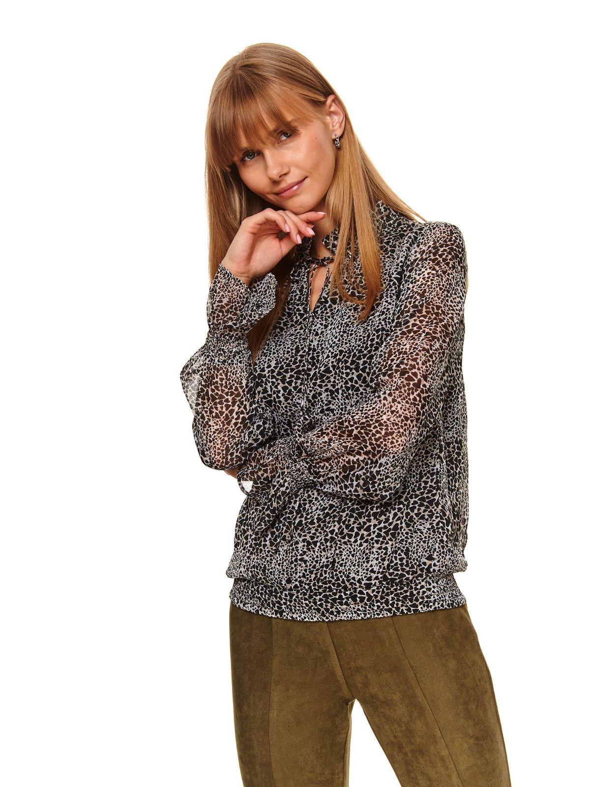 Bluza dama Top Secret neagra casual cu croi larg cu elastic in talie din material usor transparent