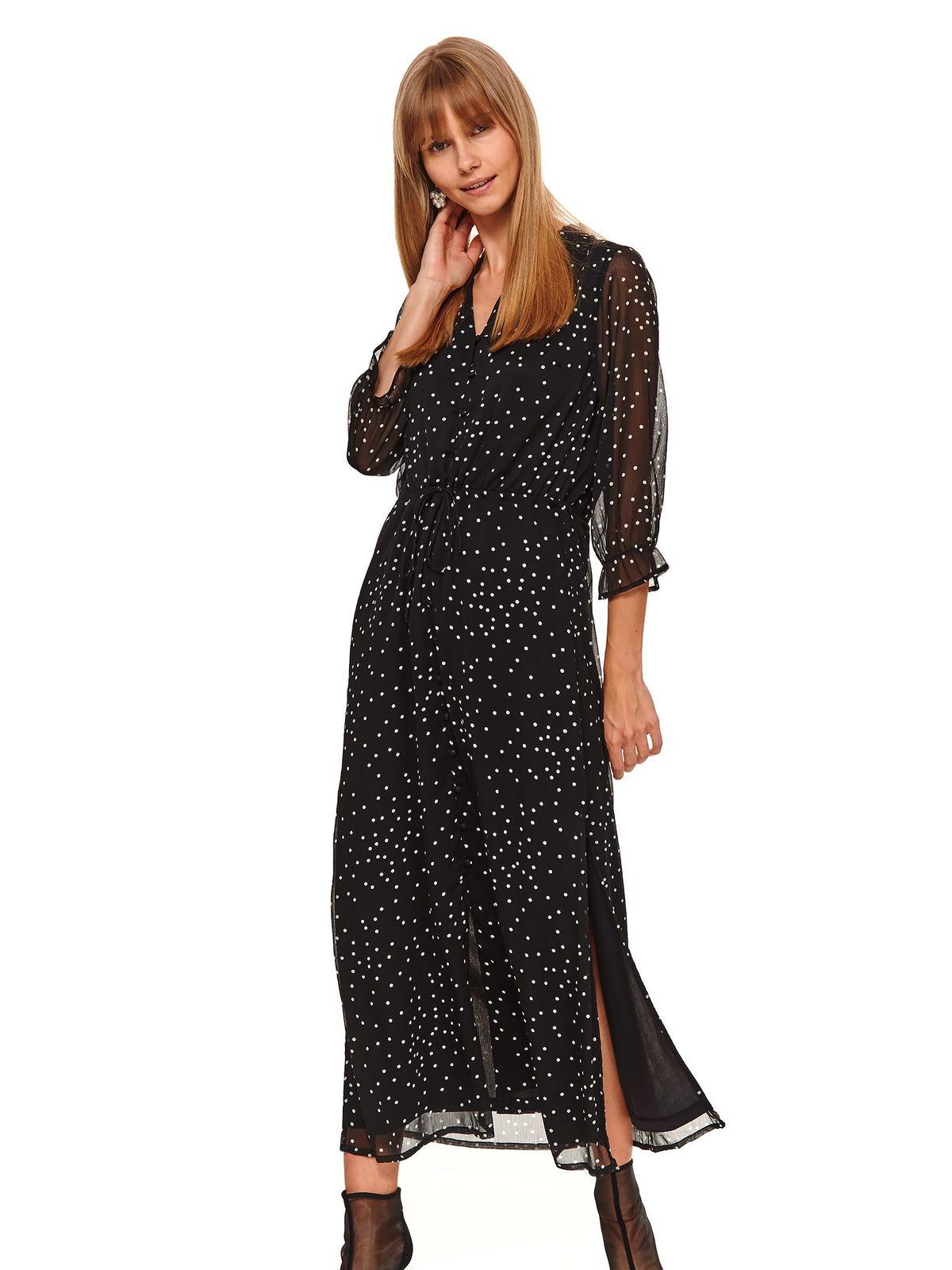 Fekete hétköznapi hosszú harang ruha 3/4-es ujjakkal v-dekoltázzsal enyhén áttetsző anyag