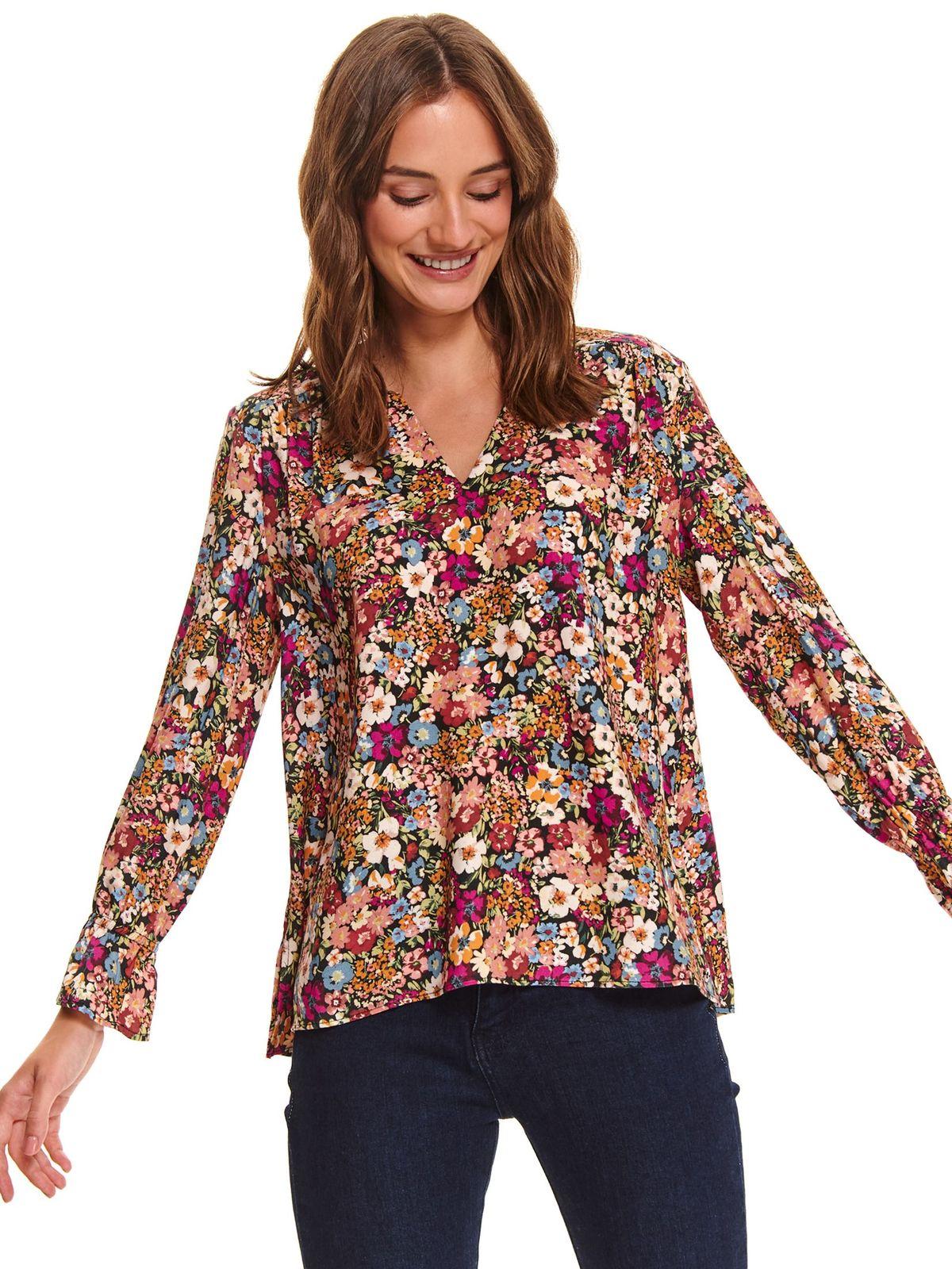 Bluza dama Top Secret neagra casual cu croi larg cu decolteu in v din material vaporos cu imprimeuri florale