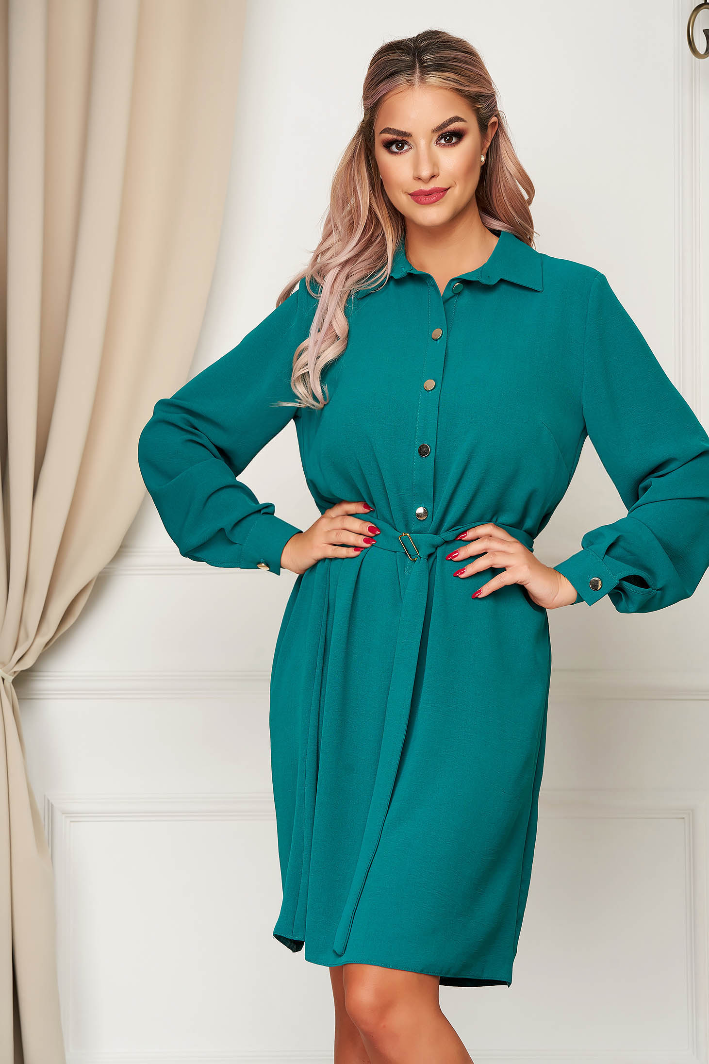 StarShinerS green dress daily flared accessorized with tied waistband with button accessories