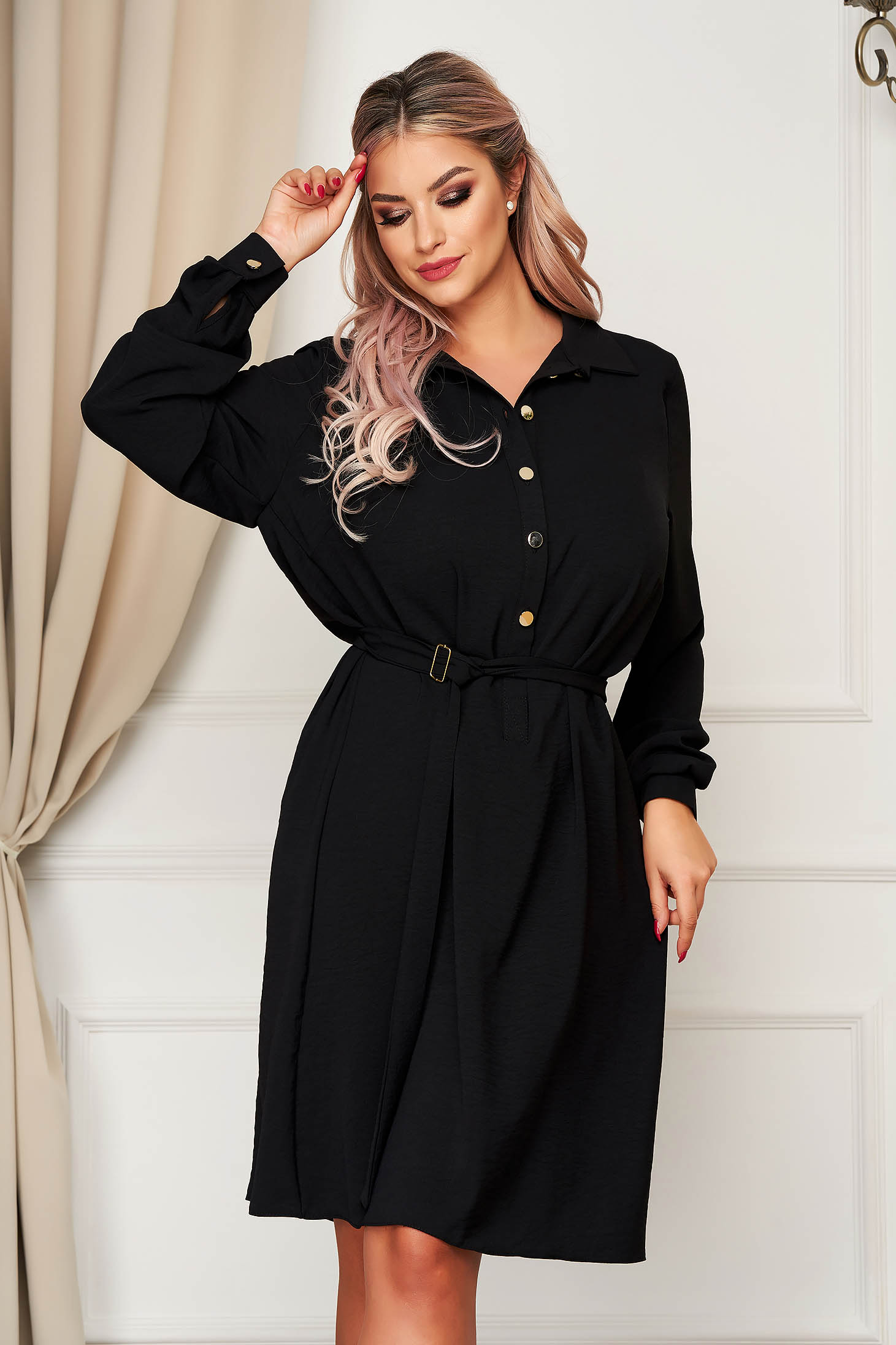 StarShinerS black dress daily flared accessorized with tied waistband with button accessories