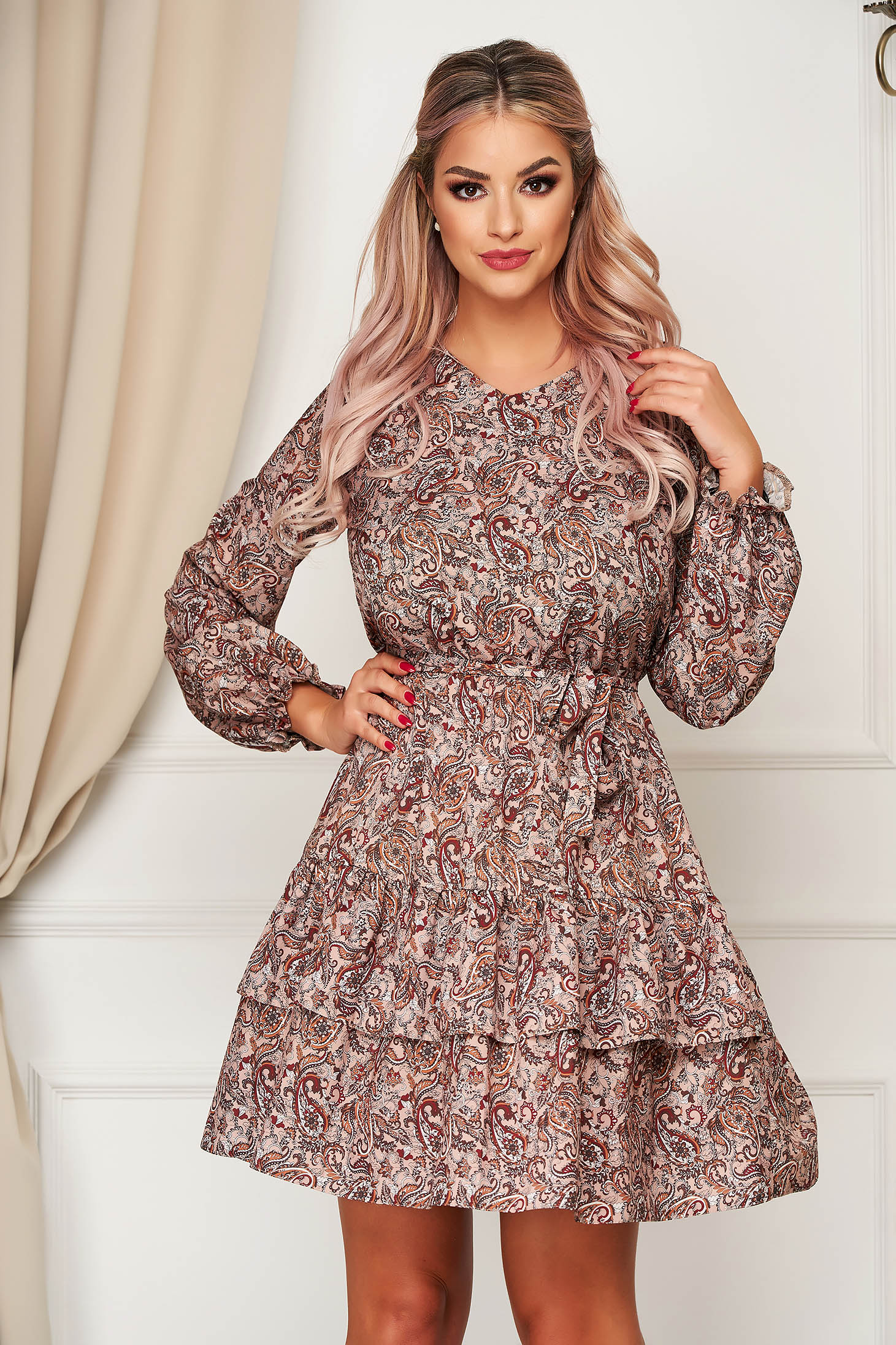 StarShinerS brown dress daily cloche with elastic waist with v-neckline airy fabric with ruffles at the buttom of the dress