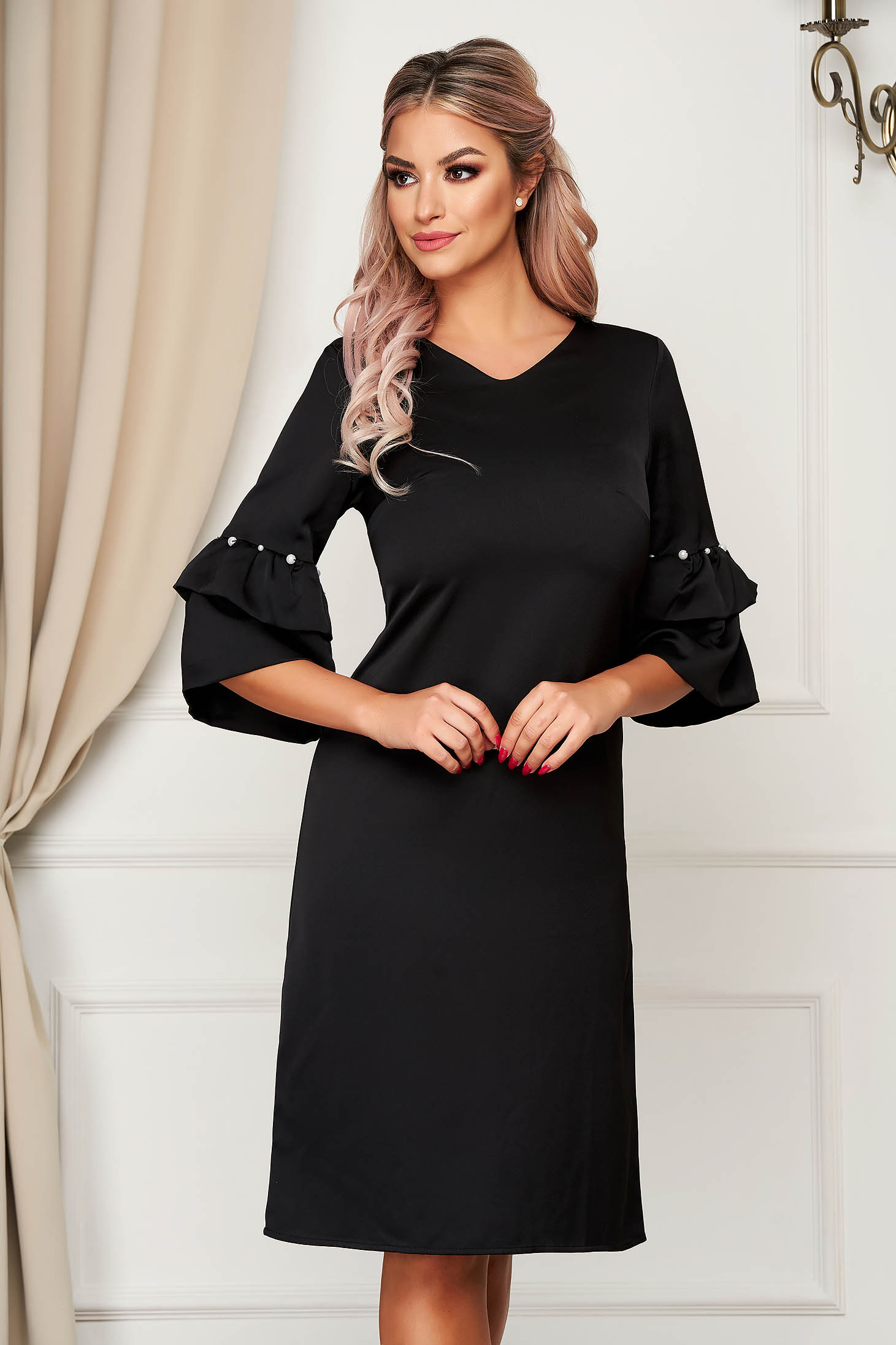 Black dress elegant a-line with bell sleeve with pearls