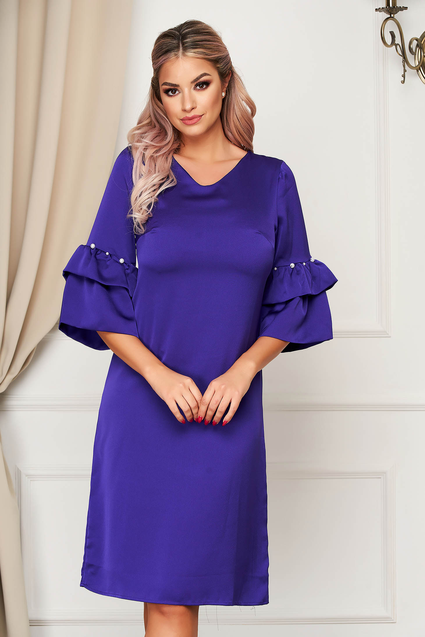 Purple dress elegant a-line with bell sleeve with pearls