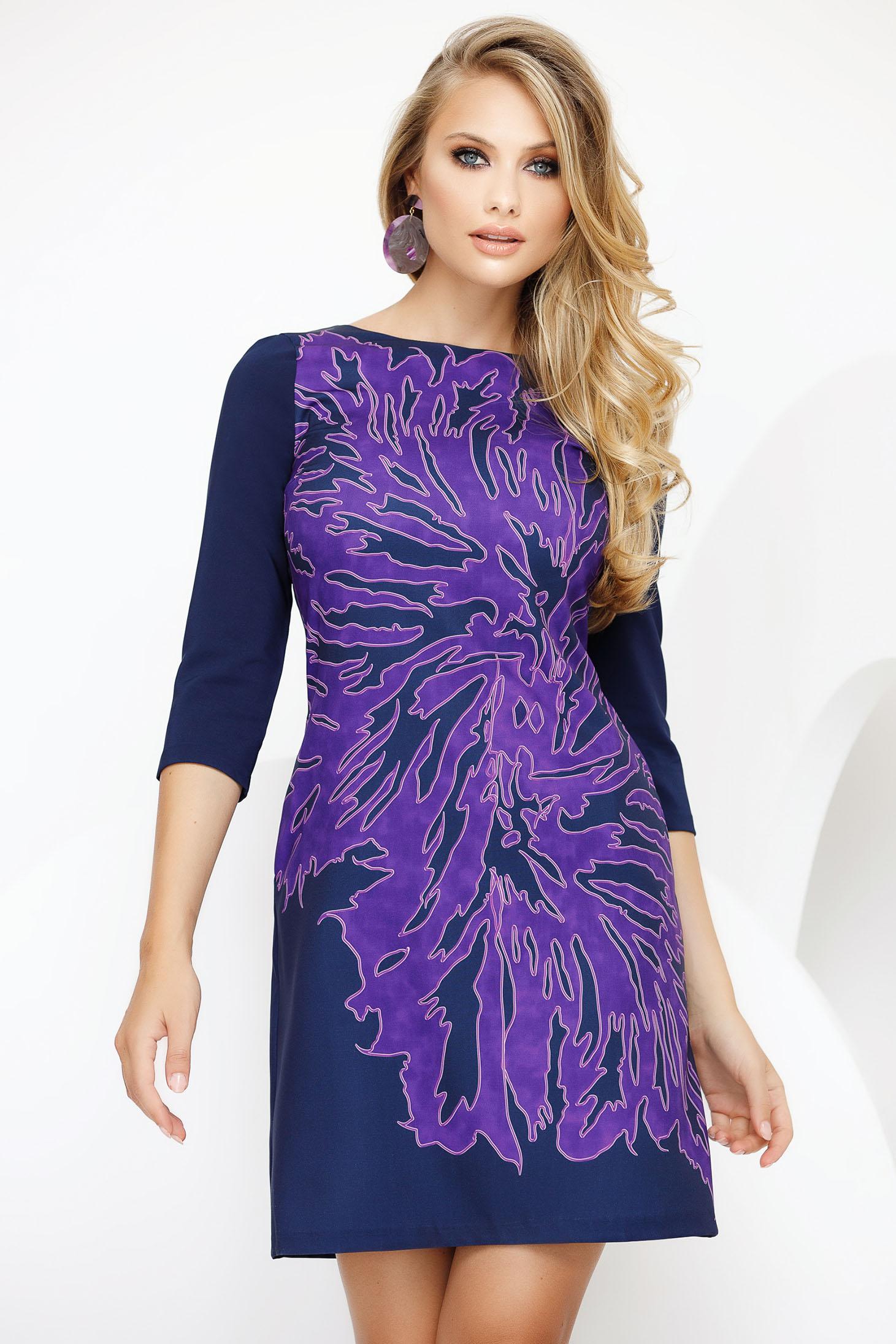Dress purple daily short cut a-line slightly elastic fabric