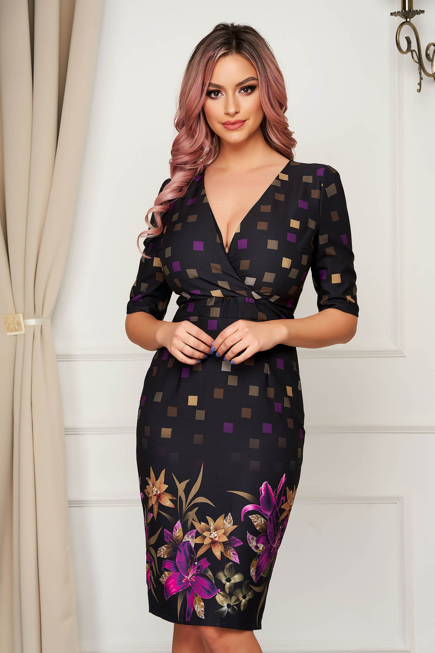 Dress purple elegant pencil wrap over front with 3/4 sleeves
