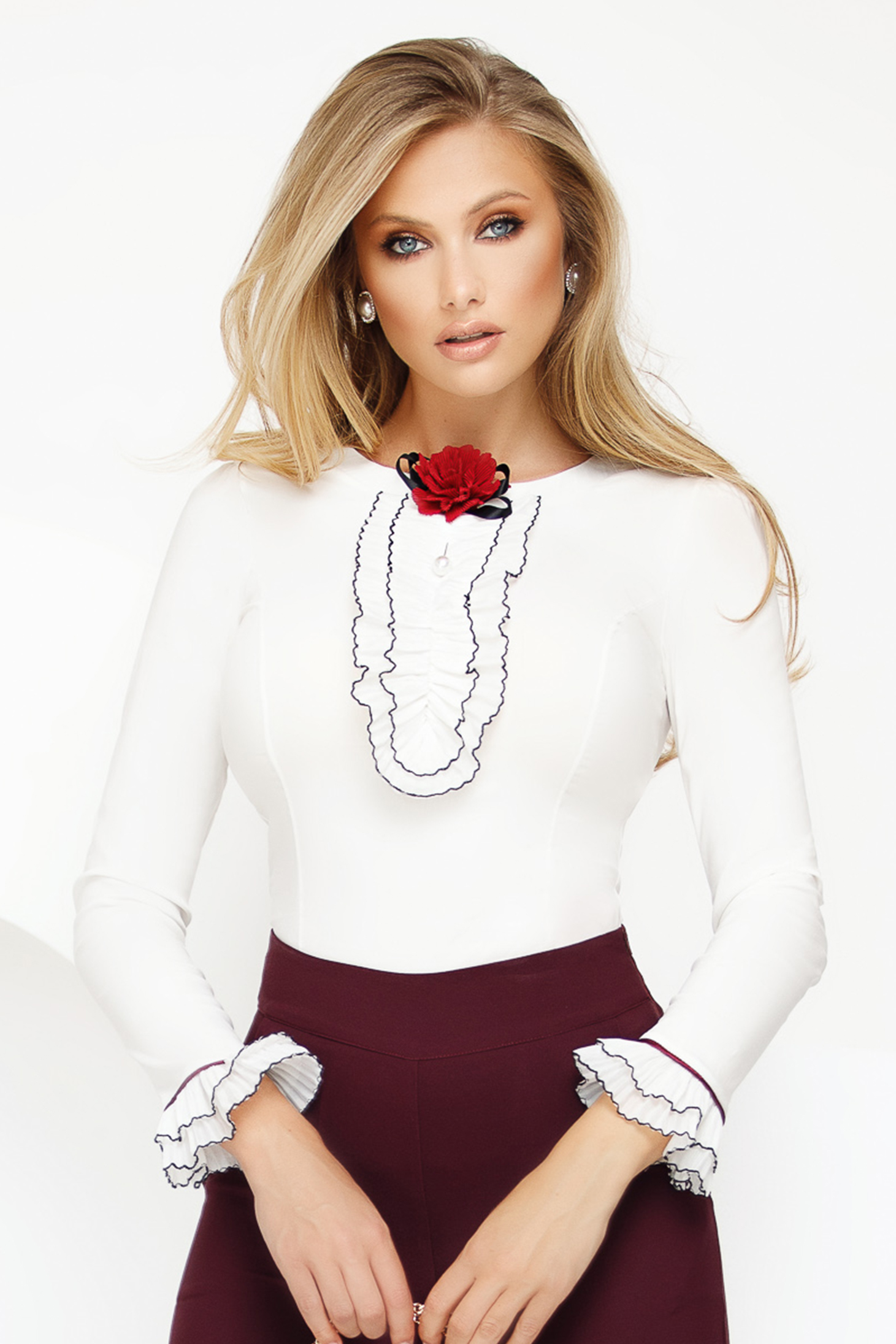 Women`s shirt white office with tented cut slightly elastic cotton accessorized with breastpin