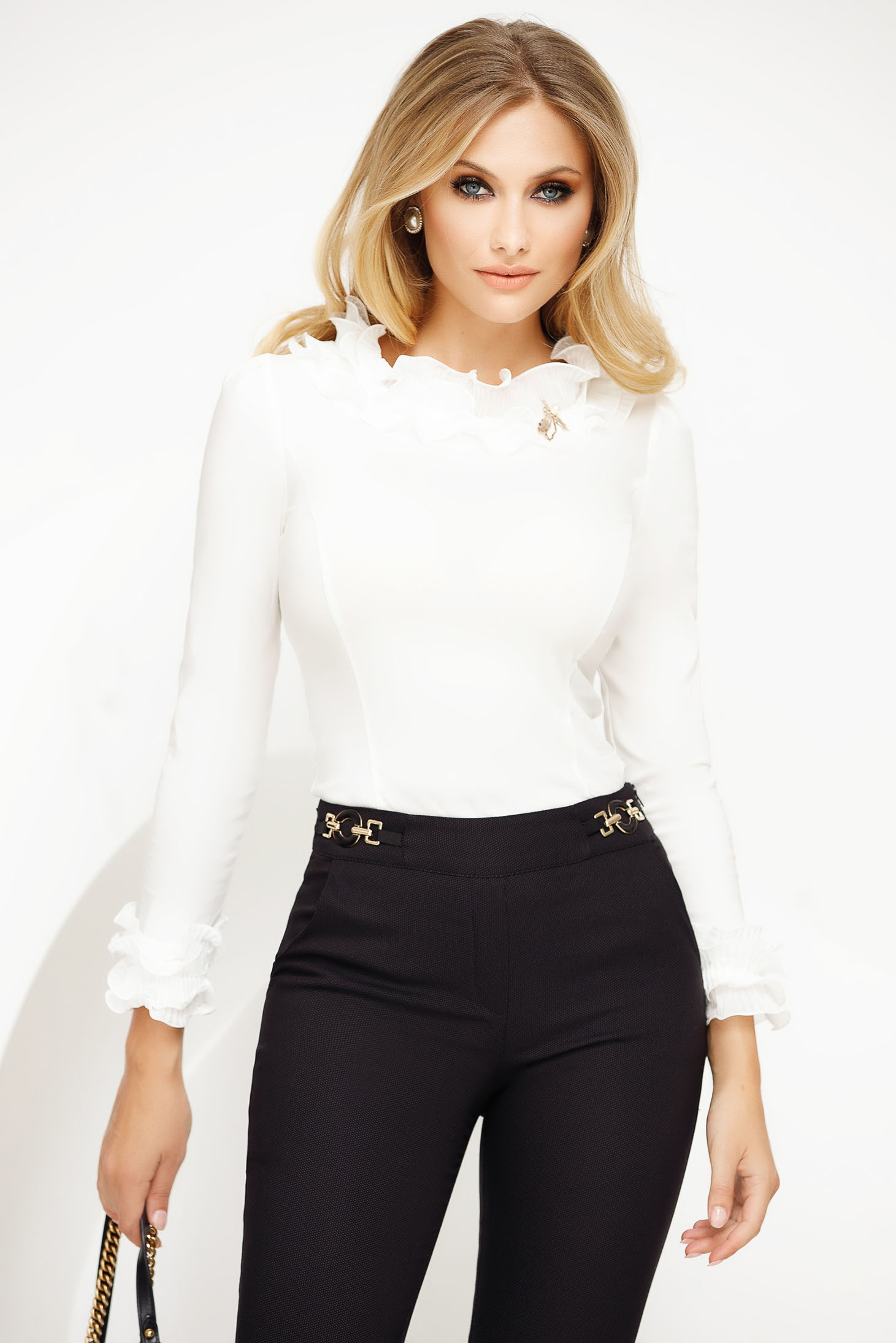 Women`s shirt white elegant with tented cut slightly elastic cotton ruffled collar with metalic accessory