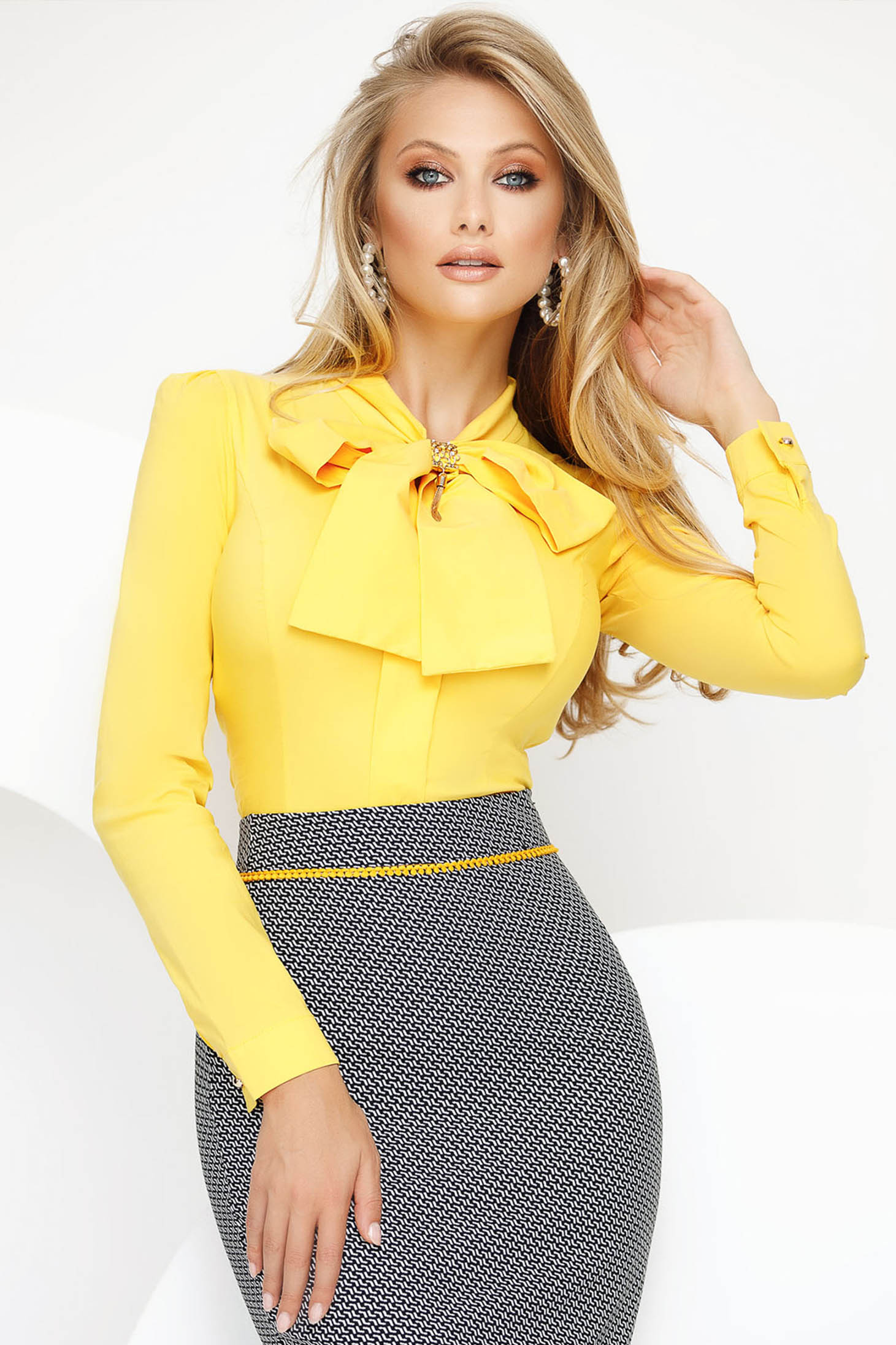 Women`s shirt yellow office with tented cut slightly elastic cotton with bow