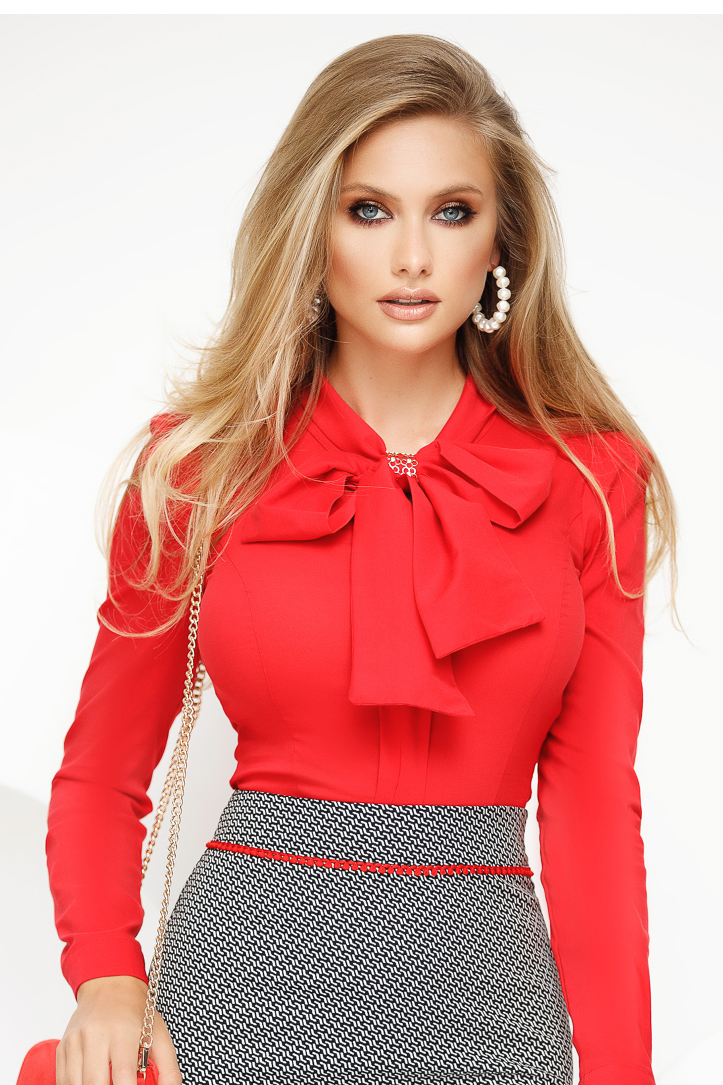 Women`s shirt red office with tented cut slightly elastic cotton with bow
