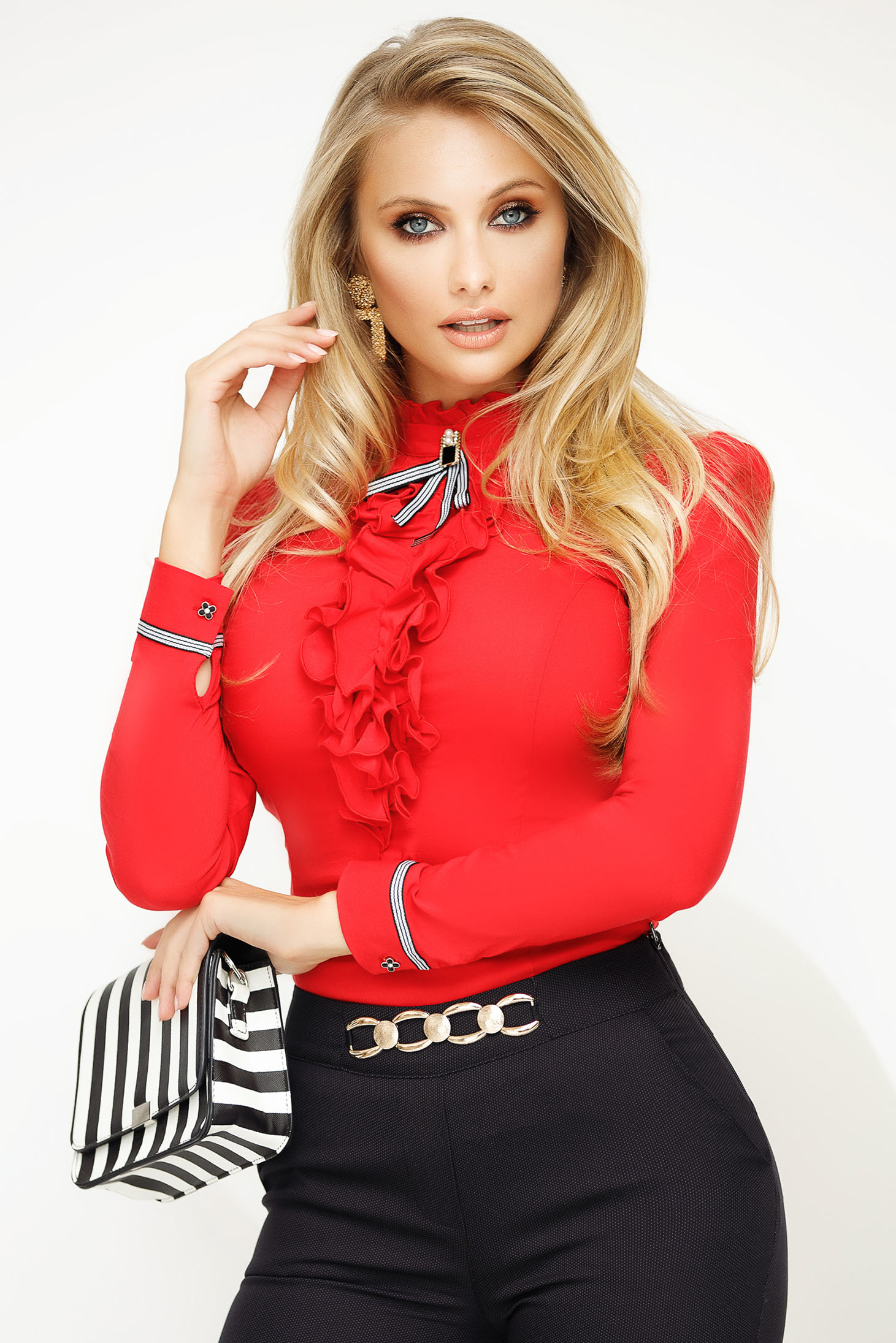 Women`s shirt red office with tented cut slightly elastic cotton ruffled collar accessorized with breastpin