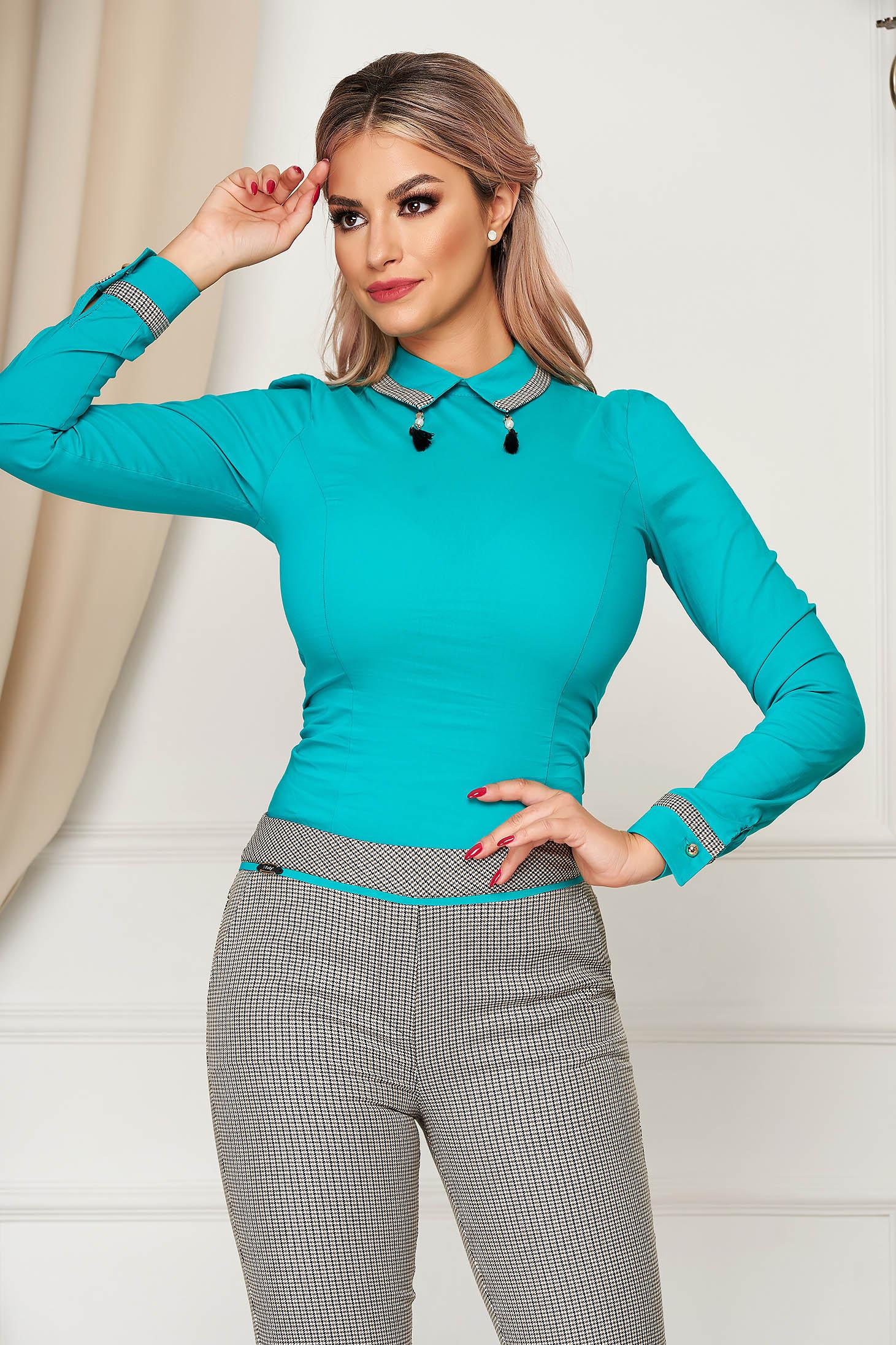 Türkizzöld irodai női ing szűk szabású enyhén elasztikus pamut