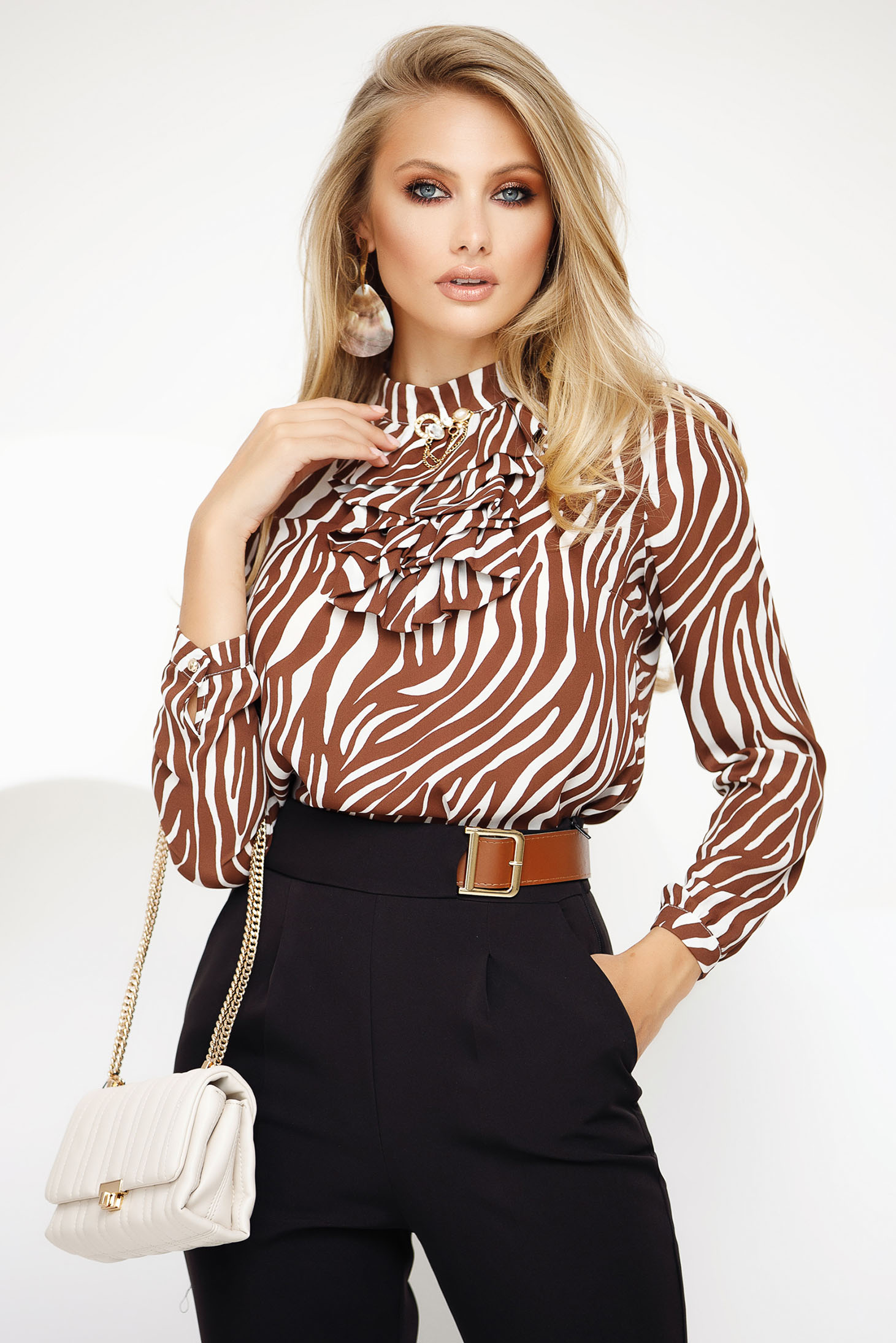 Women`s blouse brown office flared from veil fabric with metalic accessory ruffled collar