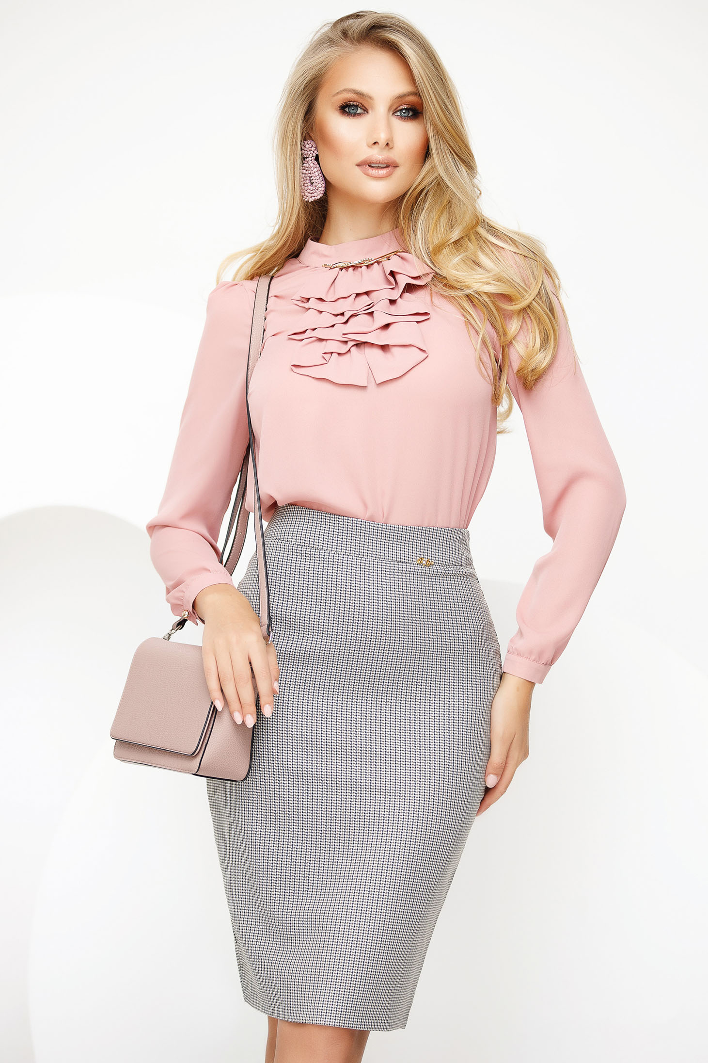 Women`s blouse lightpink elegant voile fabric with metalic accessory ruffled collar